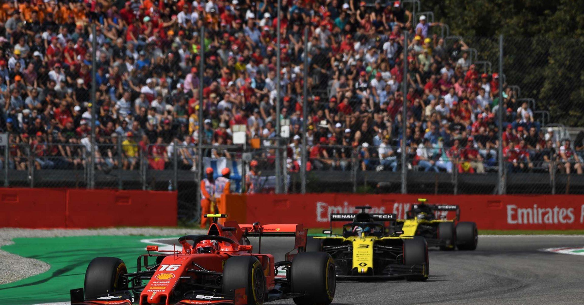 Charles Leclerc (Ferrari), followed by Daniel Ricciardo (Renault) & Nico Hülkenberg (Renault)