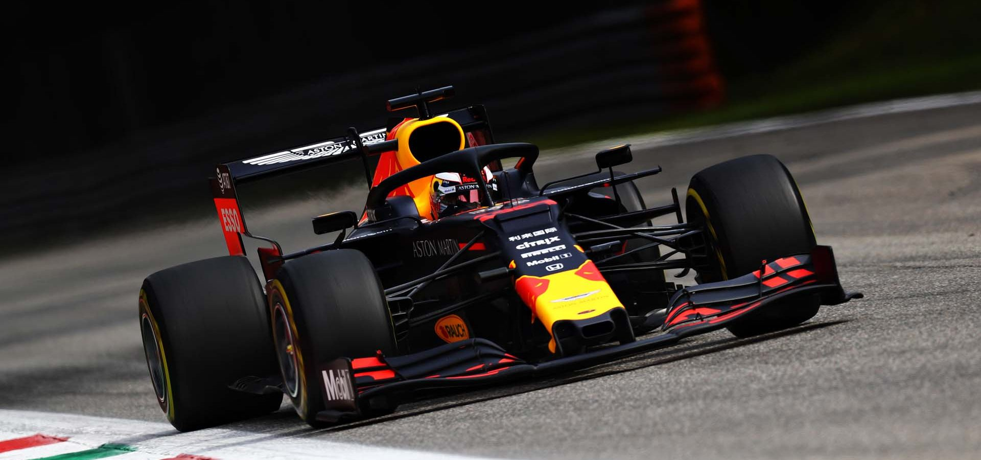 MONZA, ITALY - SEPTEMBER 07: Max Verstappen of the Netherlands driving the (33) Aston Martin Red Bull Racing RB15 on track during final practice for the F1 Grand Prix of Italy at Autodromo di Monza on September 07, 2019 in Monza, Italy. (Photo by Mark Thompson/Getty Images) // Getty Images / Red Bull Content Pool  // AP-21GFQJUC92111 // Usage for editorial use only //