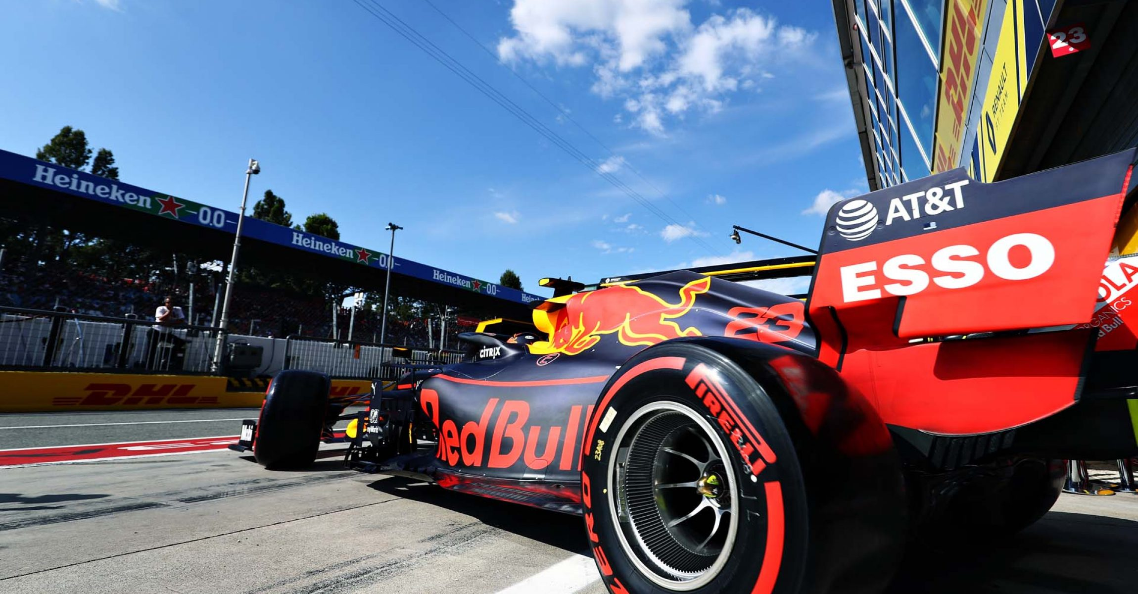 MONZA, ITALY - SEPTEMBER 07: Alexander Albon of Thailand driving the (23) Aston Martin Red Bull Racing RB15 leaves the garage during qualifying for the F1 Grand Prix of Italy at Autodromo di Monza on September 07, 2019 in Monza, Italy. (Photo by Mark Thompson/Getty Images) // Getty Images / Red Bull Content Pool  // AP-21GH3YADH2111 // Usage for editorial use only //
