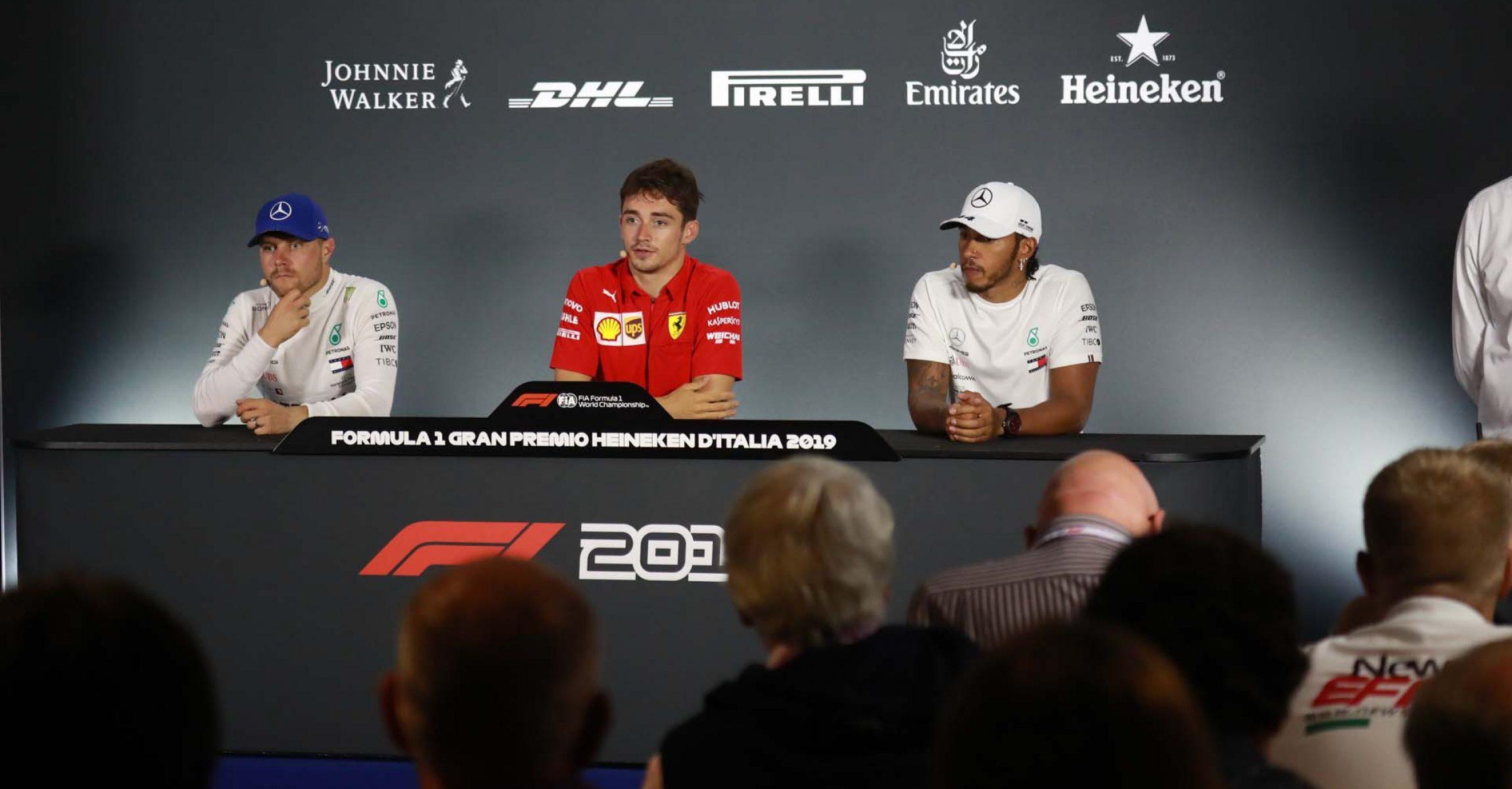 Valtteri Bottas (Mercedes), Charles Leclerc (Ferrari) & Lewis Hamilton (Mercedes) during the press conference after the Italian Grand Prix in Monza (2019)