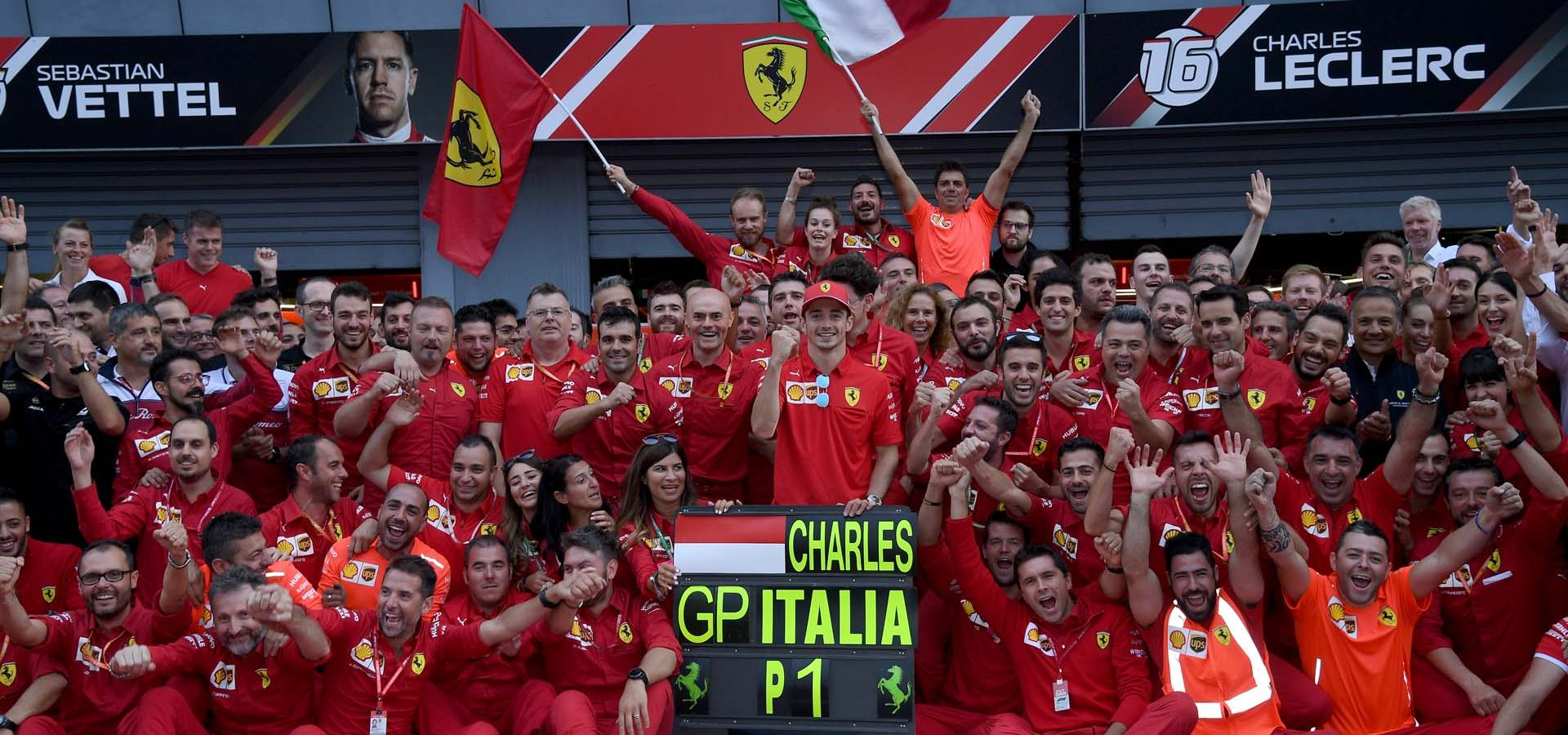 Ferrari team photo after Charles Leclerc win in Monza, Italy