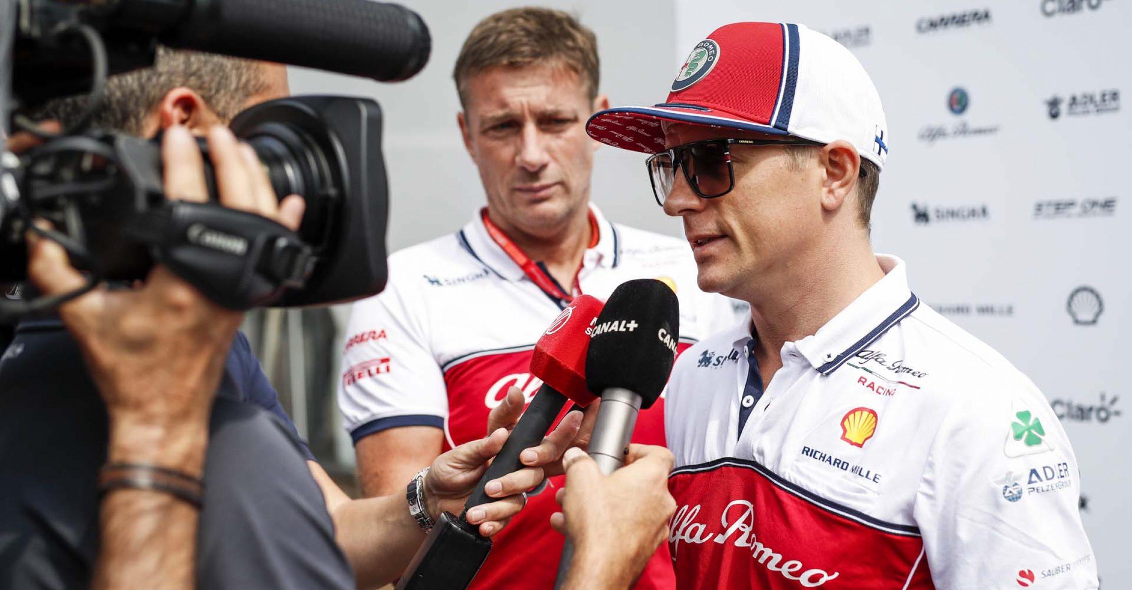 RAIKKONEN Kimi Räikkönen (fin), Alfa Romeo Racing C38, portrait interview Canal+ during 2019 Formula 1 FIA world championship, Italy Grand Prix, at Monza from september 5 to 9  - Photo Florent Gooden / DPPI