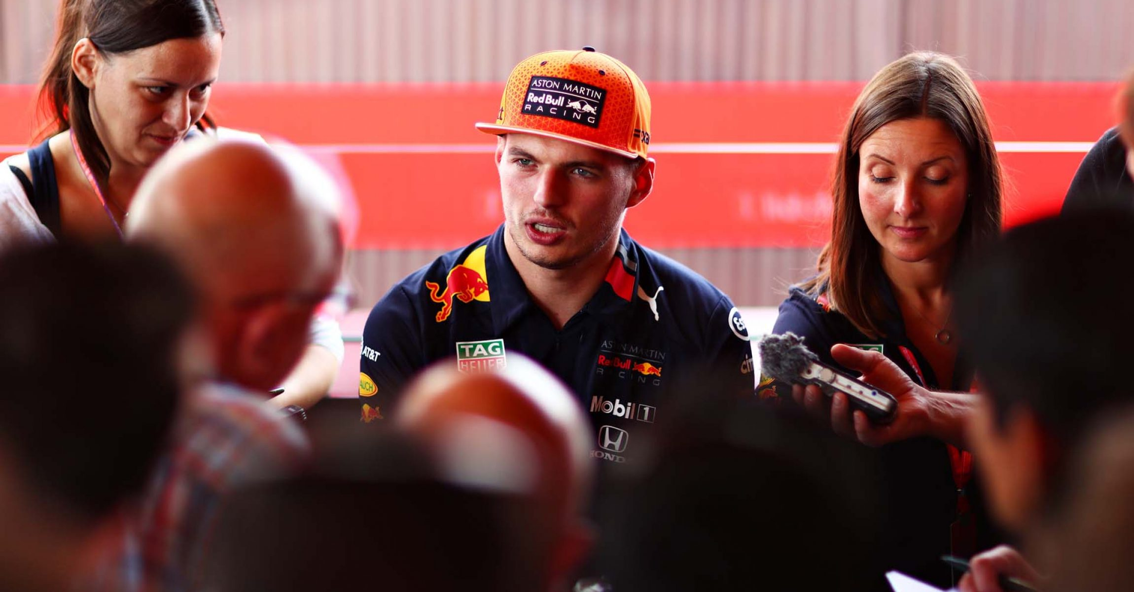MONZA, ITALY - SEPTEMBER 05: Max Verstappen of Netherlands and Red Bull Racing talks to the media in the Paddock during previews ahead of the F1 Grand Prix of Italy at Autodromo di Monza on September 05, 2019 in Monza, Italy. (Photo by Dan Istitene/Getty Images) // Getty Images / Red Bull Content Pool // AP-21FTKEY8N1W11 // Usage for editorial use only //