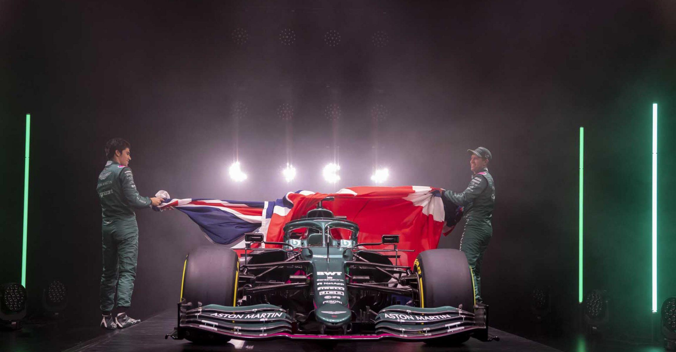Lance Stroll & Sebastian Vettel unveil the Aston Martin AMR21, 2021