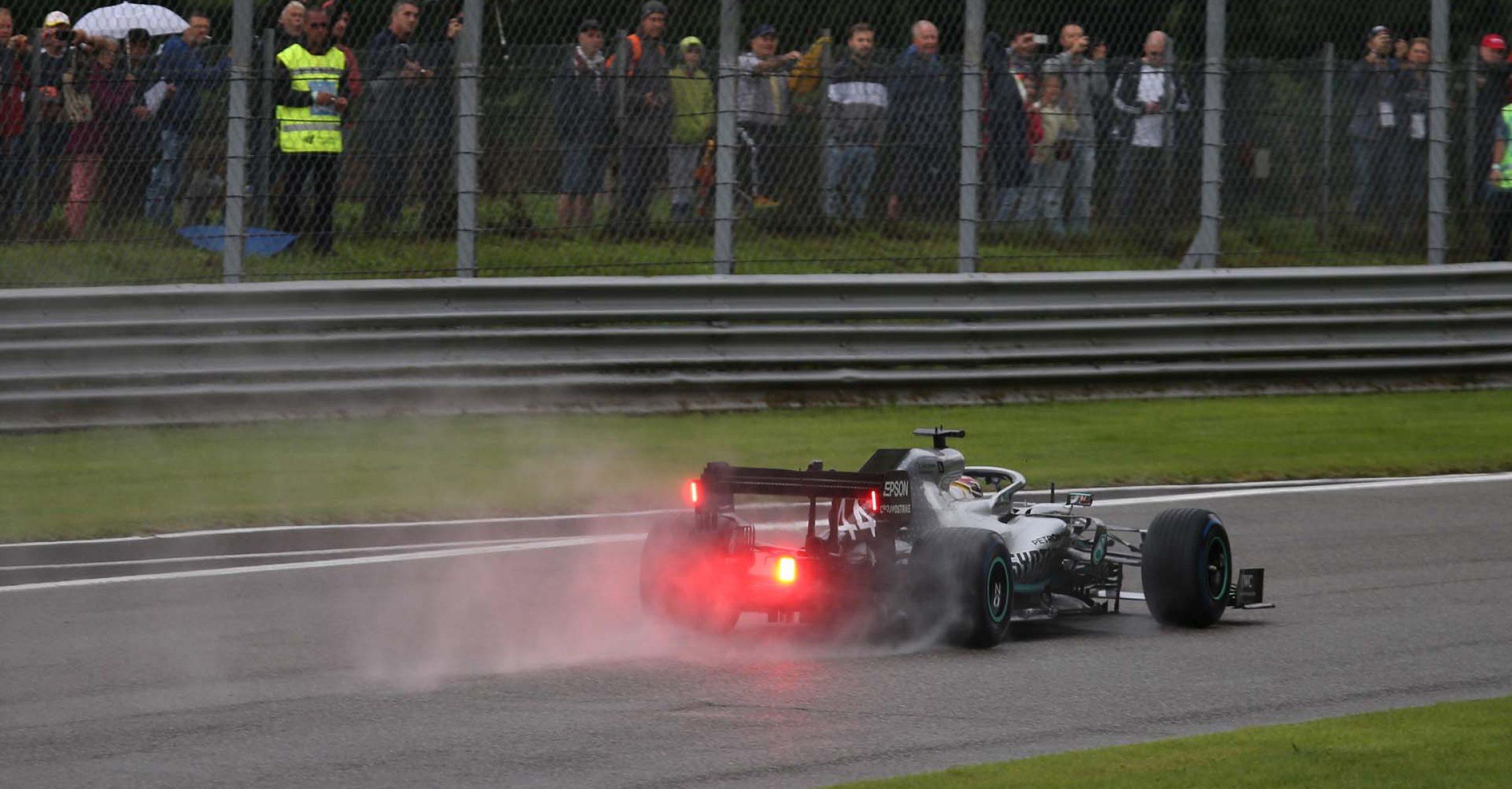 Italy, Italian Grand Prix 2019, Monza,  Lewis Hamilton, Mercedes, wet, rain, intermediate