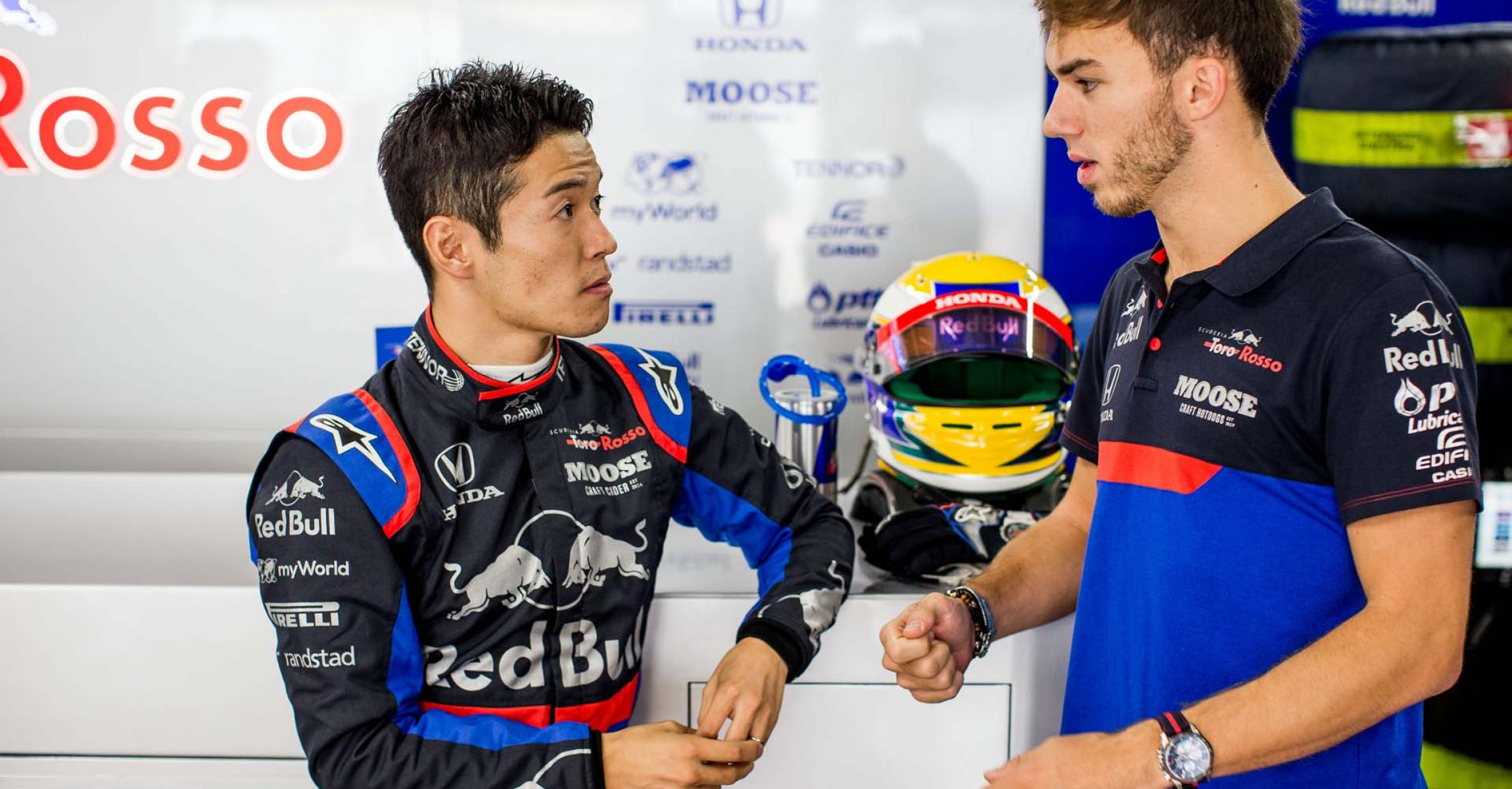 SUZUKA, JAPAN - OCTOBER 11: Naoki Yamamoto of Scuderia Toro Rosso and Japan with Pierre Gasly of Scuderia Toro Rosso and France during practice for the F1 Grand Prix of Japan at Suzuka Circuit on October 11, 2019 in Suzuka, Japan. (Photo by Peter Fox/Getty Images) // Getty Images / Red Bull Content Pool  // AP-21UA4G73S2111 // Usage for editorial use only //