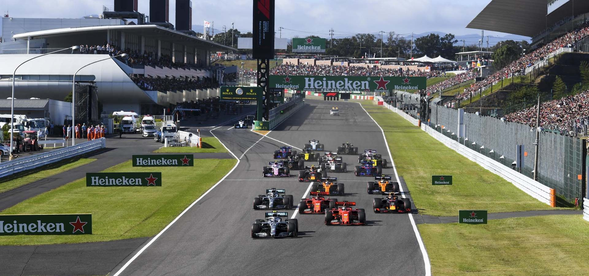 SUZUKA, JAPAN - OCTOBER 13: Valtteri Bottas, Mercedes AMG W10 leads Sebastian Vettel, Ferrari SF90Charles Leclerc, Ferrari SF90, Lewis Hamilton, Mercedes AMG F1 W10 and Max Verstappen, Red Bull Racing RB15 at the start of the race during the Japanese GP at Suzuka on October 13, 2019 in Suzuka, Japan. (Photo by Mark Sutton / LAT Images)