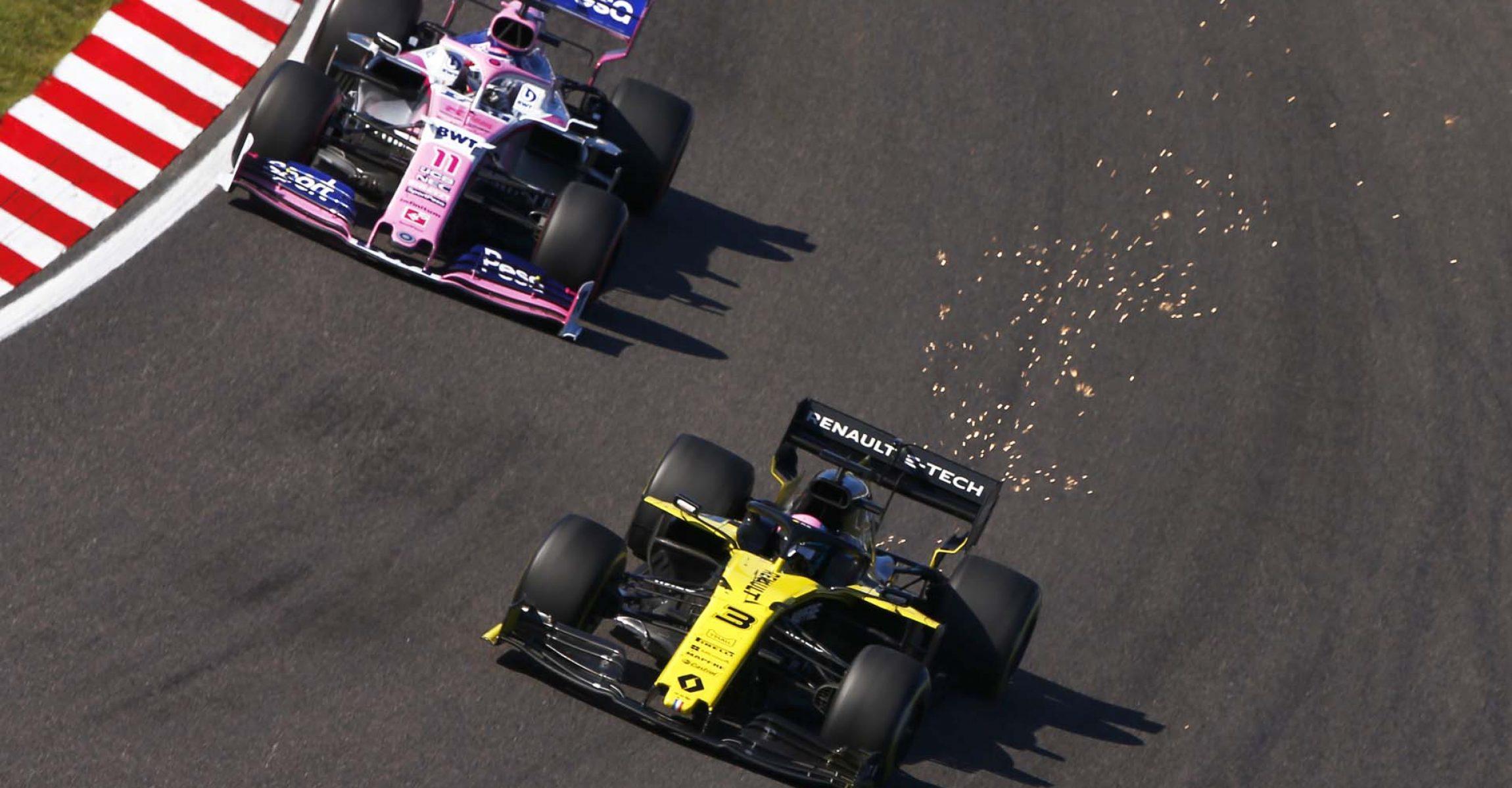 Daniel Ricciardo, Renault R.S.19 and Sergio Perez, Racing Point RP19