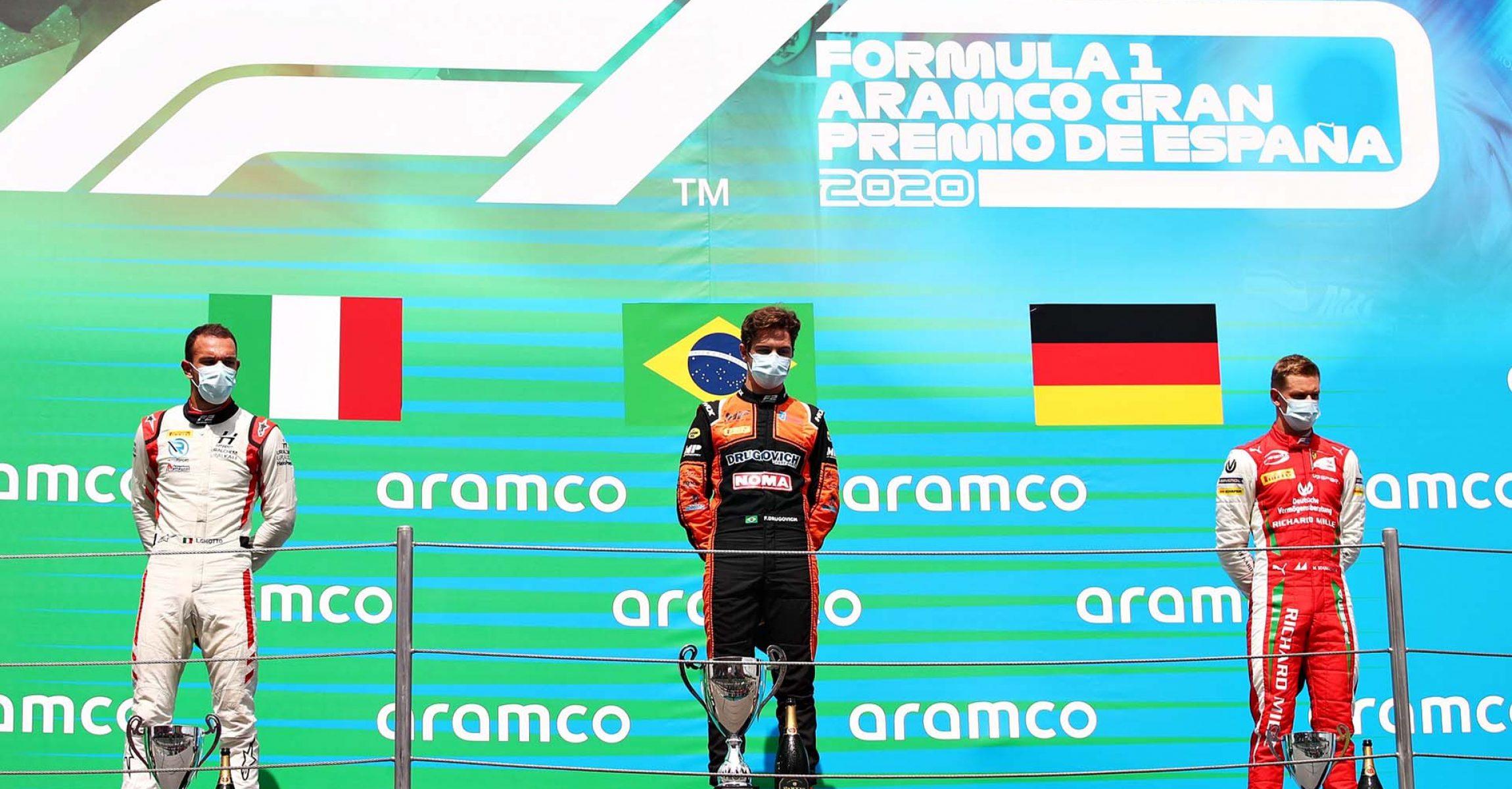 BARCELONA, SPAIN - AUGUST 16: <> during the sprint race of the Formula 2 Championship at Circuit de Barcelona-Catalunya on August 16, 2020 in Barcelona, Spain. (Photo by Joe Portlock - Formula 1/Formula 1 via Getty Images)