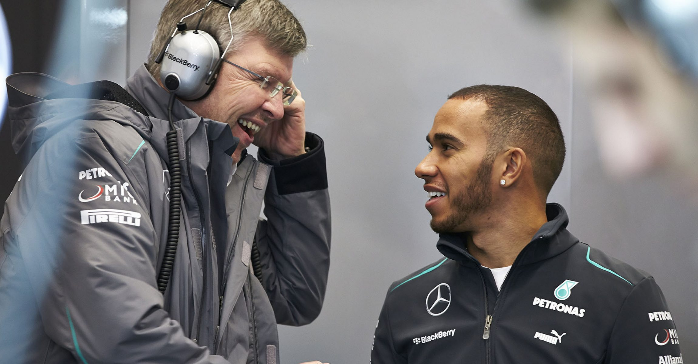 Ross Brawn and Lewis Hamilton at the launch of the team's 2013 Formula One car. Lewis joined Mercedes-AMG Petronas Motorsport for the 2013 season.