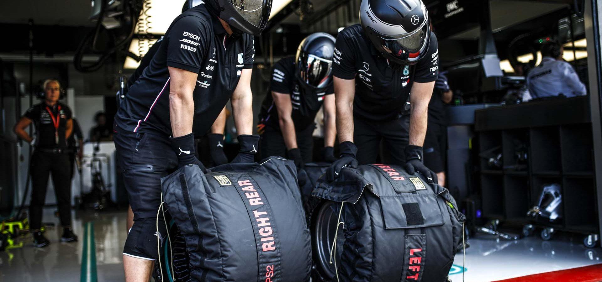 2019 French Grand Prix, Friday - Wolfgang Wilhelm Mercedes tires, Pirelli tyre warmer