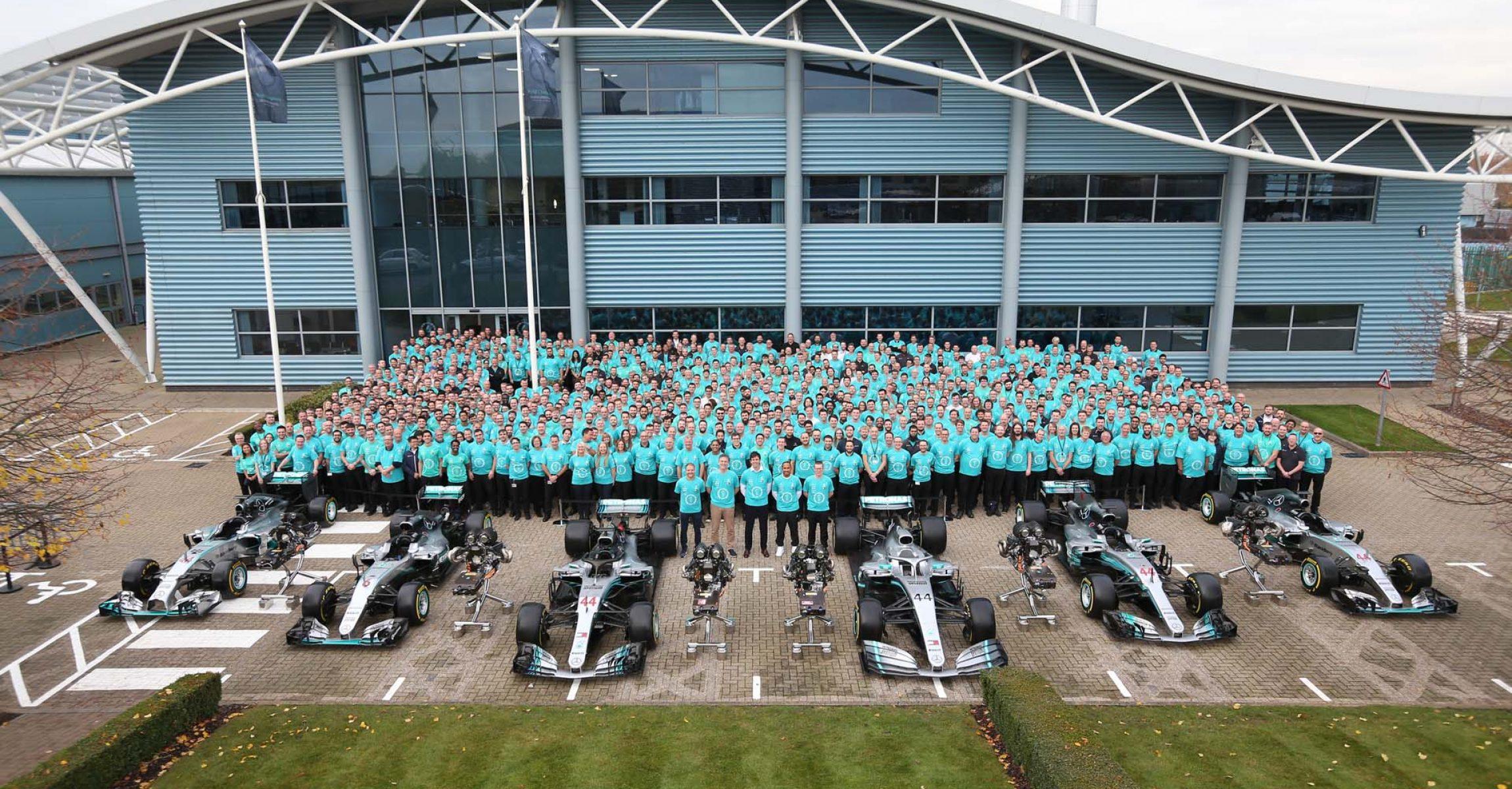 2019 Championship Celebrations - Brackley and Brixworth Mercedes team celebration
