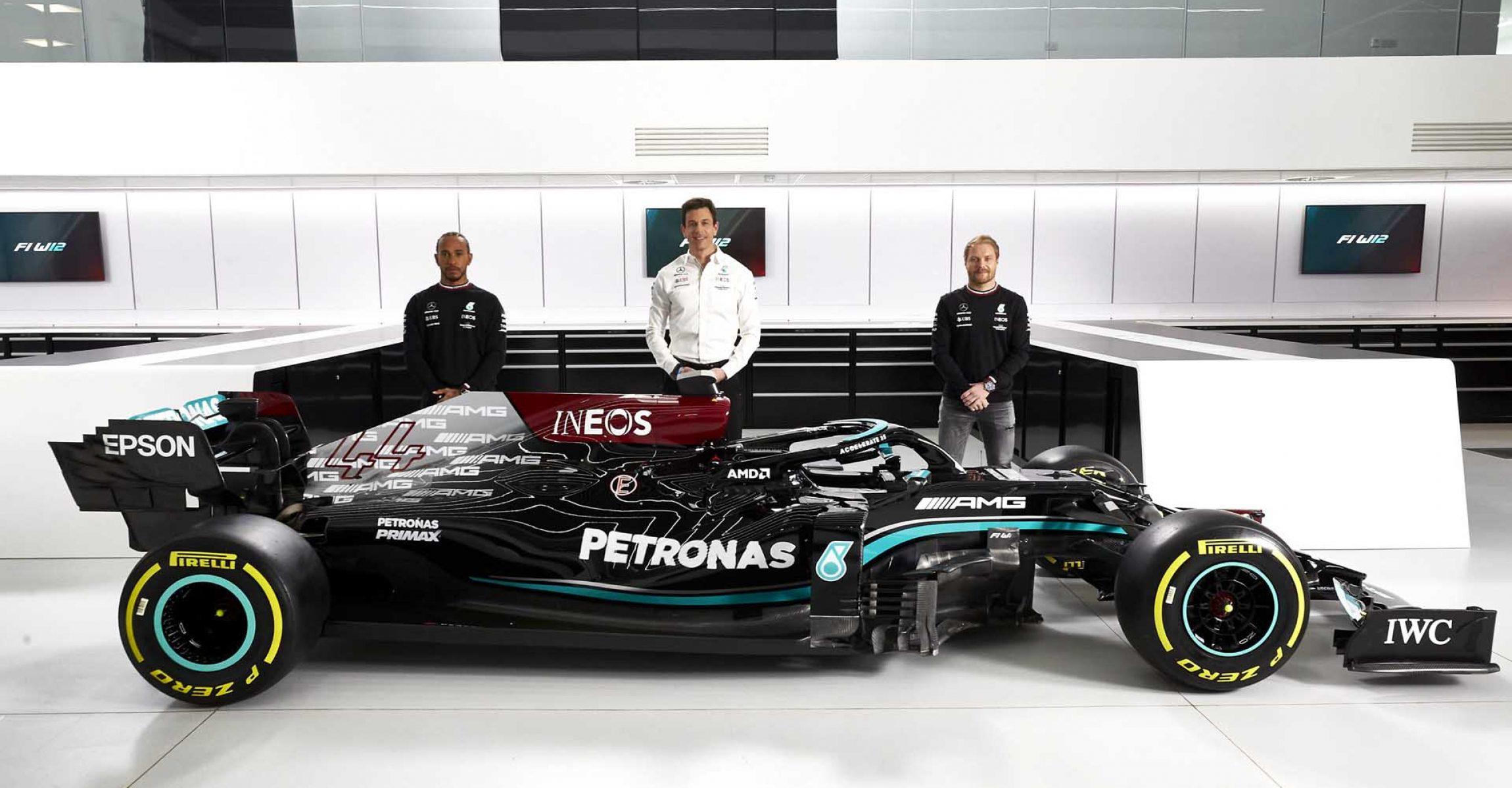 Mercedes-AMG F1 W12 E Performance Launch Lewis Hamilton Toto Wolff Valtteri Bottas Mercedes W12