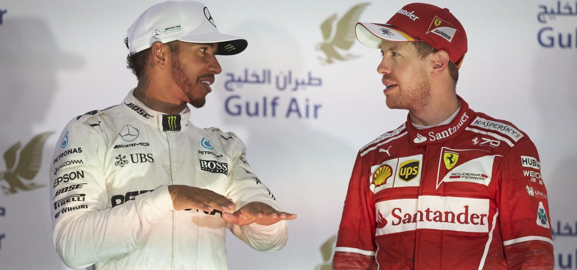 Großer Preis von Bahrain 2017, Sonntag - Steve Etherington, Lewis Hamilton, Mercedes, Sebastian Vettel, Ferrari