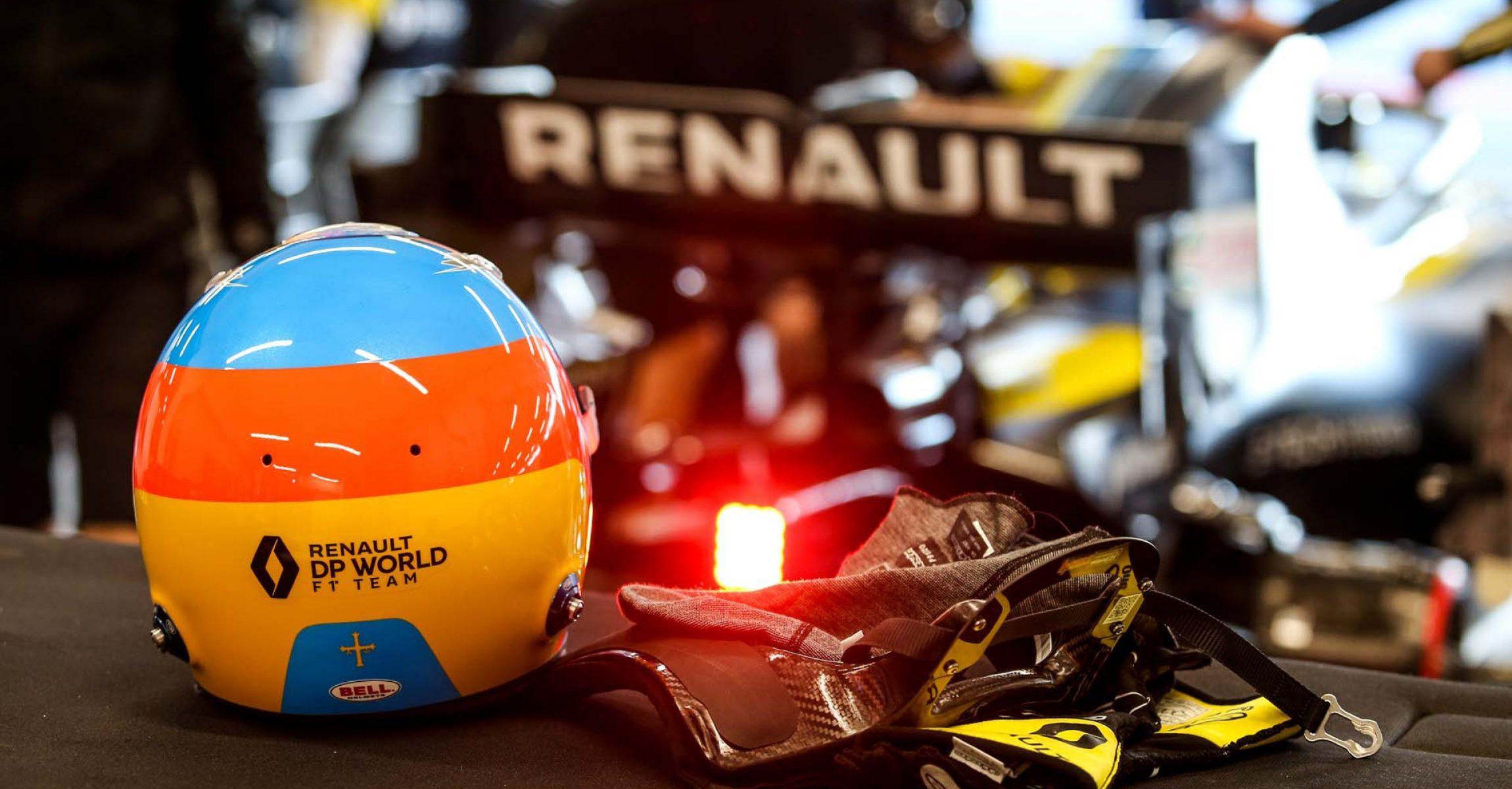 The helmet of Fernando Alonso (ESP) Renault F1 Team. Renault F1 Team Film Day, Tuesday 13th October 2020. Barcelona, Spain.
