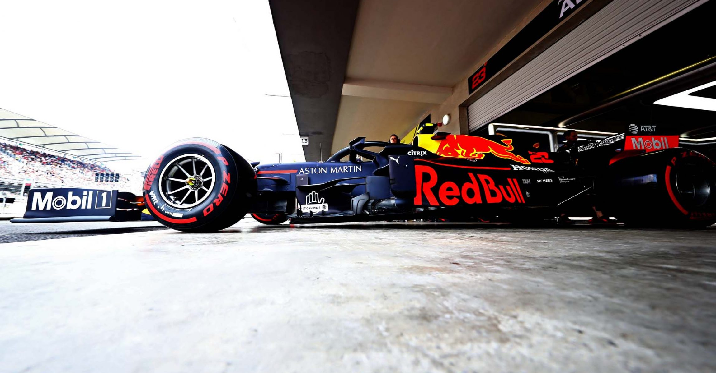 MEXICO CITY, MEXICO - OCTOBER 26: Alexander Albon of Thailand driving the (23) Aston Martin Red Bull Racing RB15 leaves the garage during qualifying for the F1 Grand Prix of Mexico at Autodromo Hermanos Rodriguez on October 26, 2019 in Mexico City, Mexico. (Photo by Mark Thompson/Getty Images) // Getty Images / Red Bull Content Pool  // AP-21ZBFE9V92111 // Usage for editorial use only //