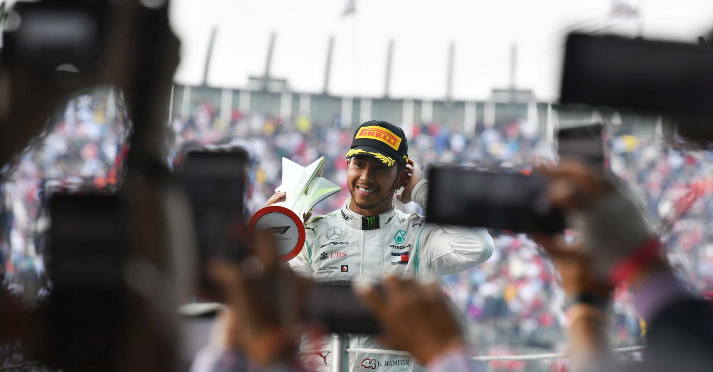 MEXICO CITY - OCTOBER 27: Race winner Lewis Hamilton, Mercedes AMG F1 on the ovum with the trophy during the 2019 Formula One Mexican Grand Prix at Autodromo Hermanos Rodriguez, on October 27, 2019 in Mexico City, Mexico. (Photo by Mark Sutton / LAT Images)
