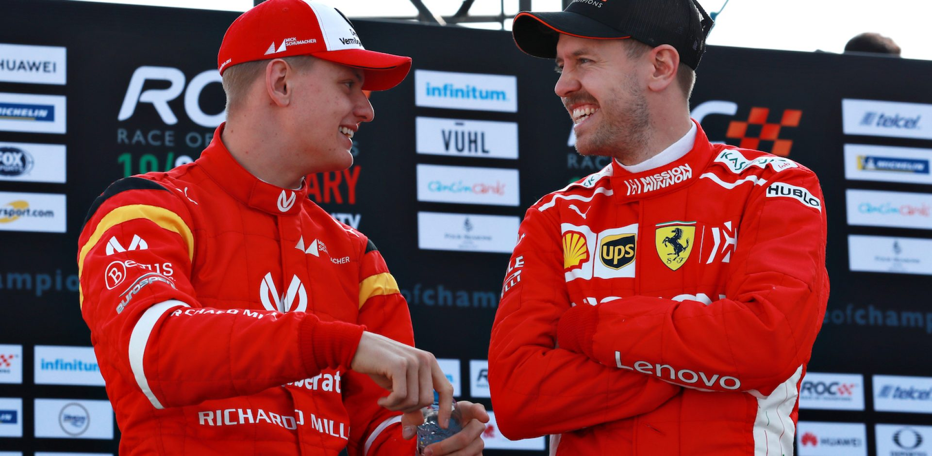 Mick Schumacher (GER) talks with Sebastian Vettel (GER) during the Race of Champions on Sunday 20 January 2019 at Foro Sol, Mexico City, Mexico