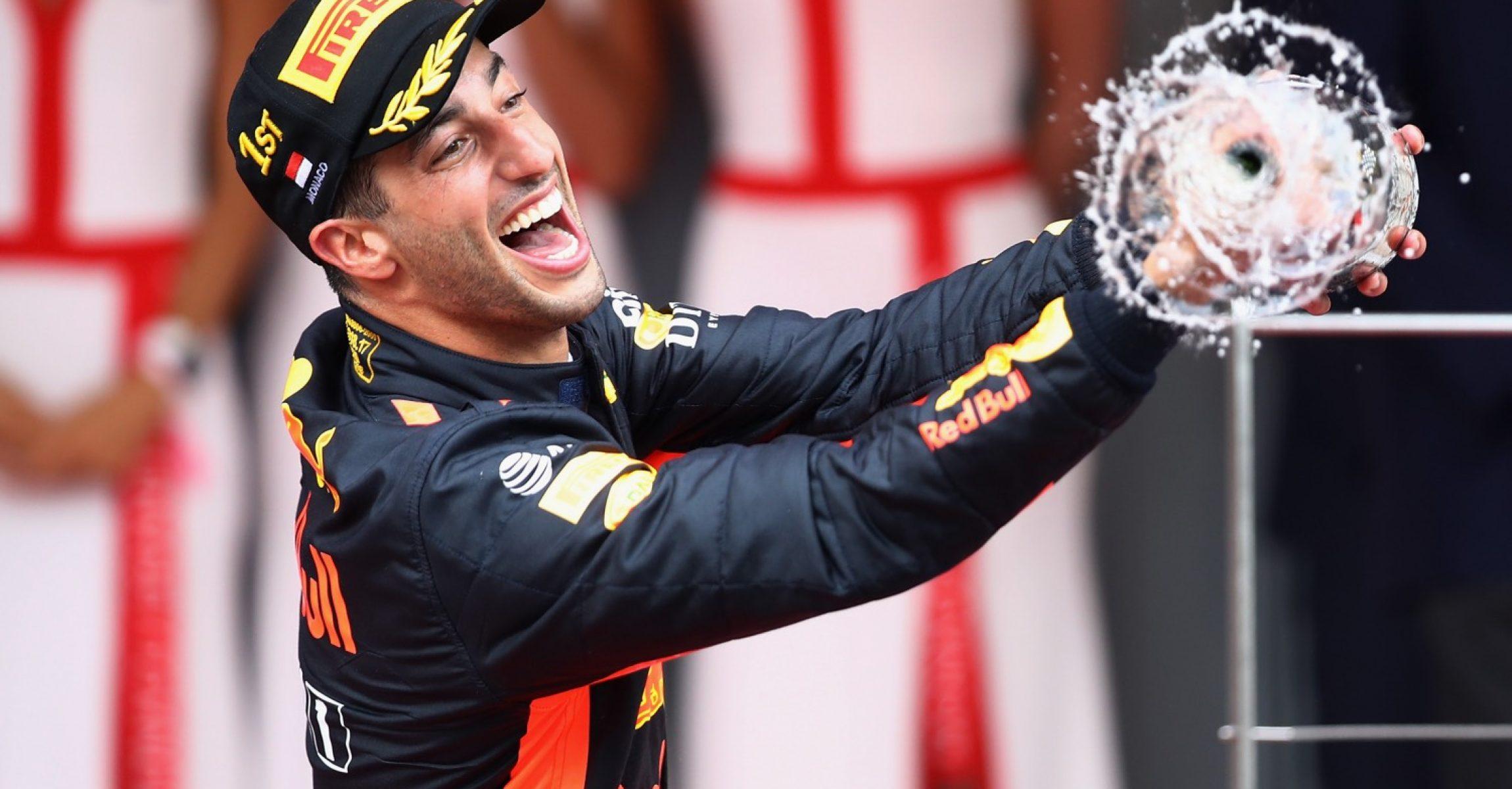 MONTE-CARLO, MONACO - MAY 27: Race winner Daniel Ricciardo of Australia and Red Bull Racing celebrates on the podium during the Monaco Formula One Grand Prix at Circuit de Monaco on May 27, 2018 in Monte-Carlo, Monaco. (Photo by Mark Thompson/Getty Images)