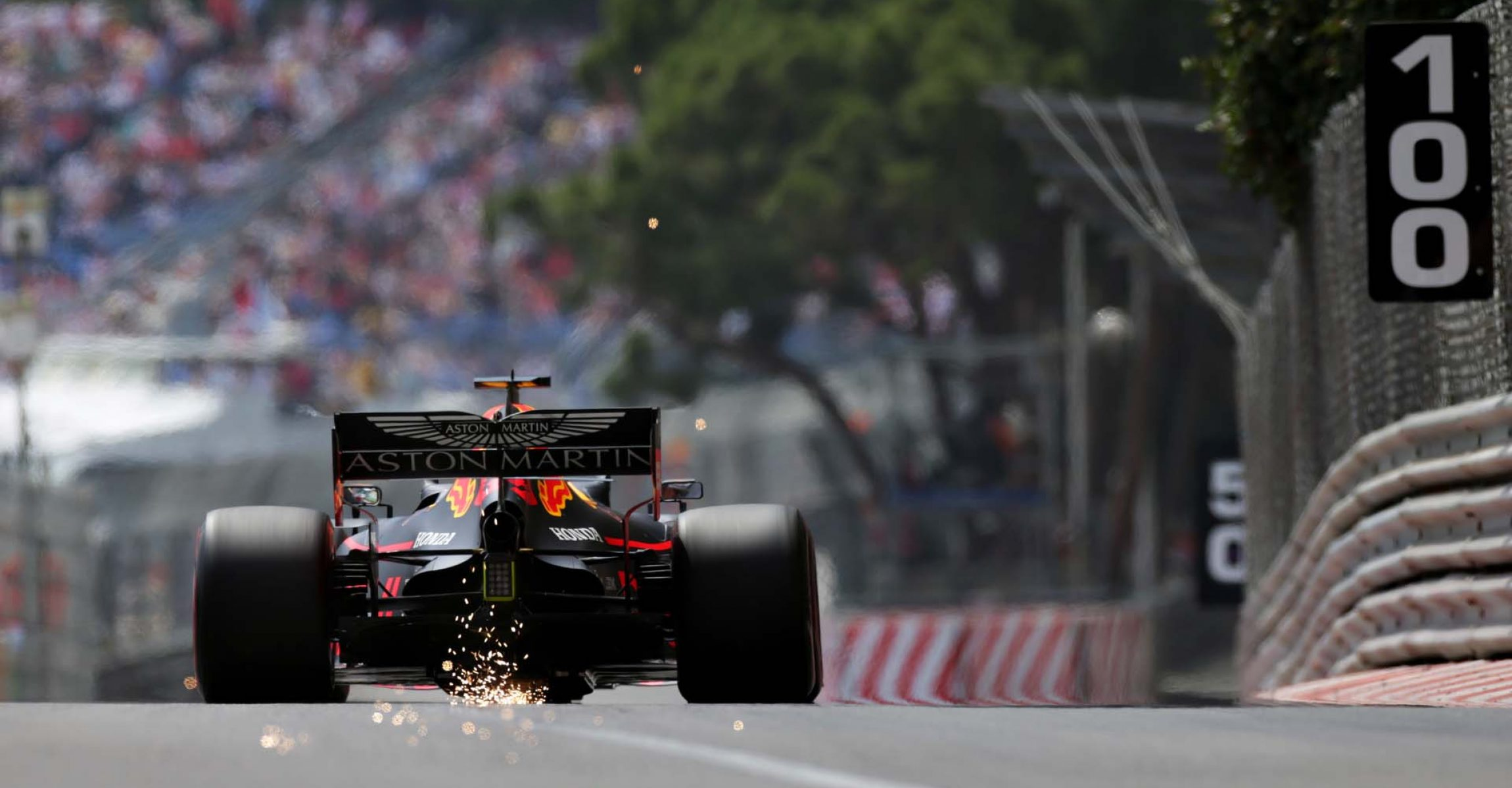 MONTE-CARLO, MONACO - MAY 25: Sparks fly behind Max Verstappen of the Netherlands driving the (33) Aston Martin Red Bull Racing RB15 on track during qualifying for the F1 Grand Prix of Monaco at Circuit de Monaco on May 25, 2019 in Monte-Carlo, Monaco. (Photo by Peter Fox/Getty Images) // Getty Images / Red Bull Content Pool  // AP-1ZEPAGB5H1W11 // Usage for editorial use only // Please go to www.redbullcontentpool.com for further information. //
