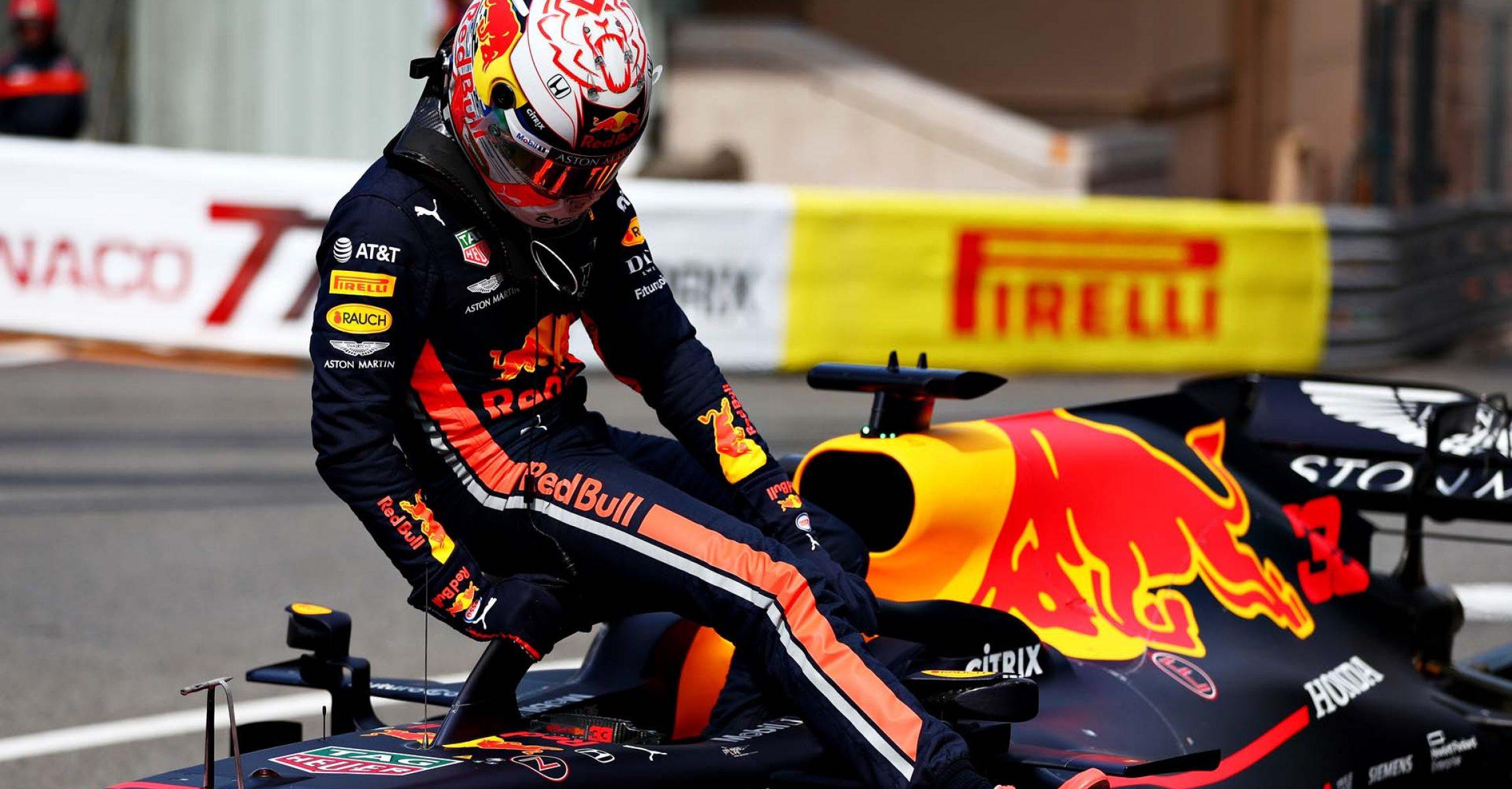 MONTE-CARLO, MONACO - MAY 25: Third place qualifier Max Verstappen of Netherlands and Red Bull Racing climbs from his car in parc ferme during qualifying for the F1 Grand Prix of Monaco at Circuit de Monaco on May 25, 2019 in Monte-Carlo, Monaco. (Photo by Dan Istitene/Getty Images) // Getty Images / Red Bull Content Pool // AP-1ZEPYHAND2111 // Usage for editorial use only // Please go to www.redbullcontentpool.com for further information. //