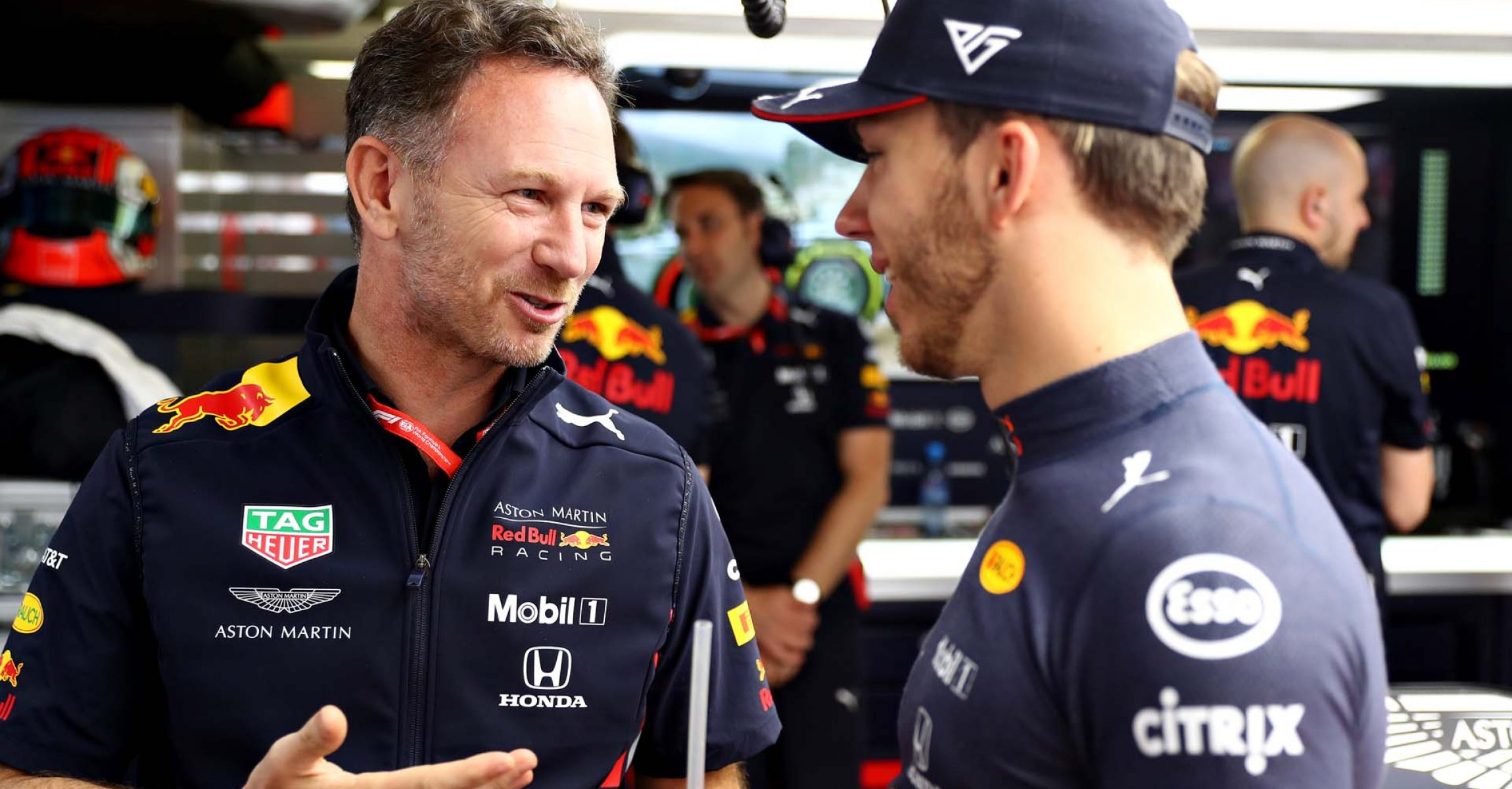 MONTE-CARLO, MONACO - MAY 23: Red Bull Racing Team Principal Christian Horner talks with Pierre Gasly of France and Red Bull Racing in the garage during practice for the F1 Grand Prix of Monaco at Circuit de Monaco on May 23, 2019 in Monte-Carlo, Monaco. (Photo by Mark Thompson/Getty Images) // Getty Images / Red Bull Content Pool  // AP-1ZE37U7VW2511 // Usage for editorial use only // Please go to www.redbullcontentpool.com for further information. //