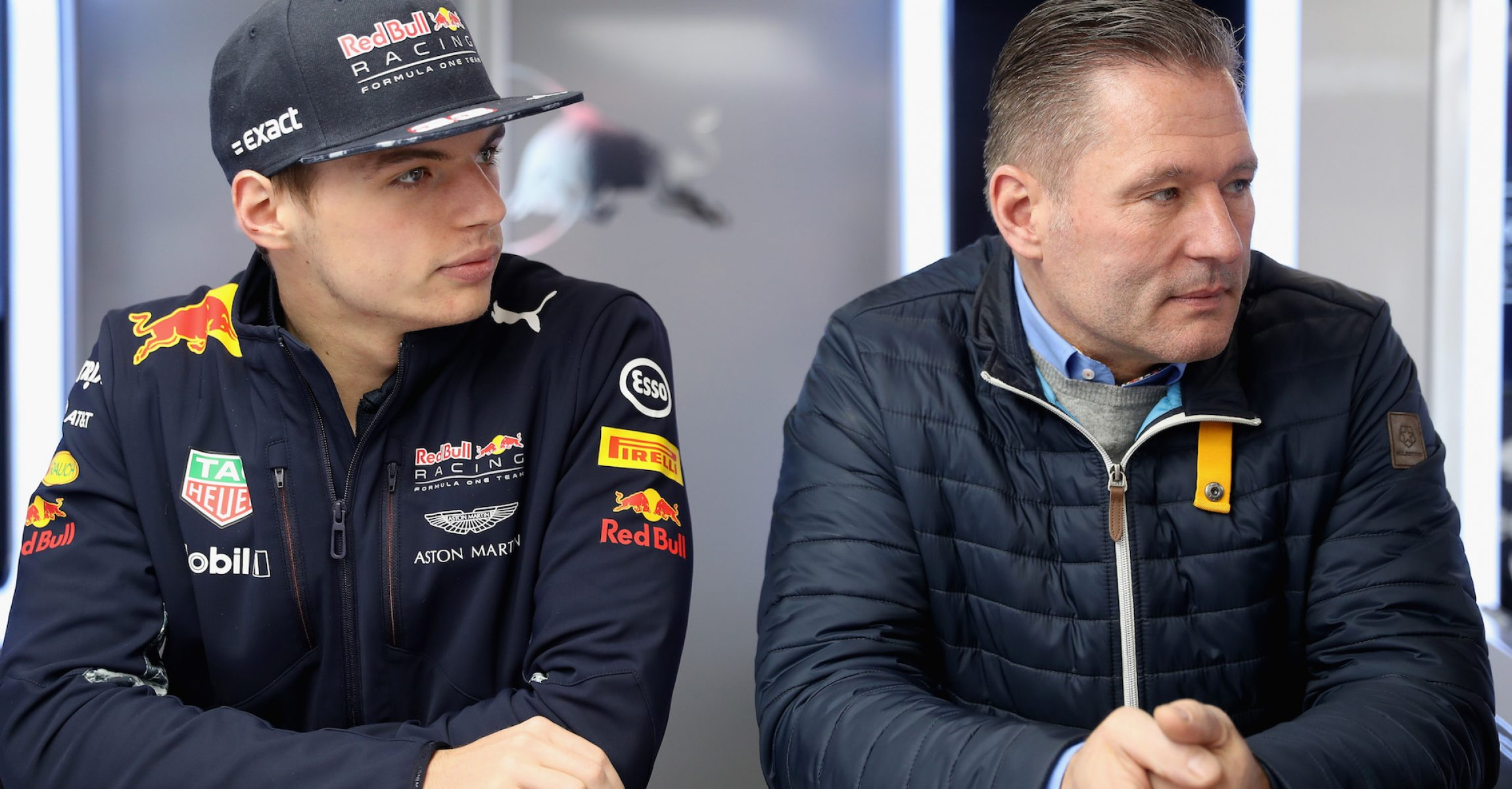 MONTMELO, SPAIN - FEBRUARY 27:  Max Verstappen of Netherlands and Red Bull Racing looks on in the garage with father Jos Verstappen during day one of Formula One winter testing at Circuit de Catalunya on February 27, 2017 in Montmelo, Spain.  (Photo by Mark Thompson/Getty Images)