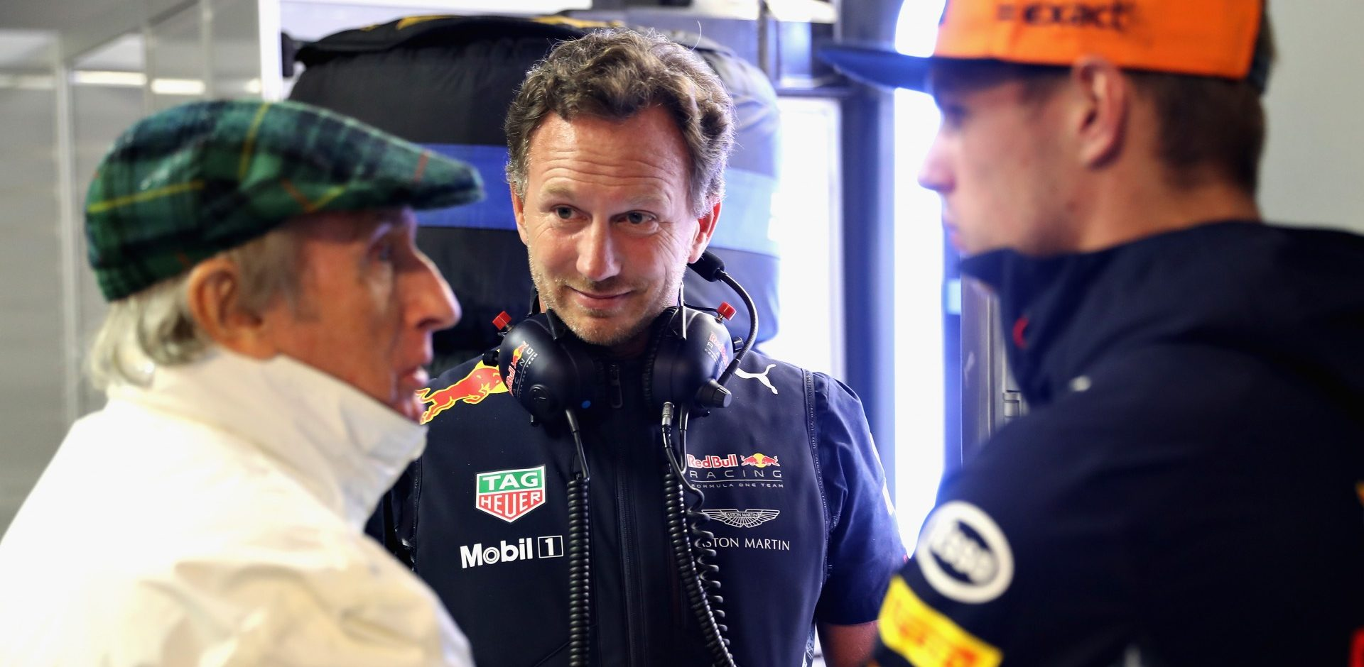 MONZA, ITALY - SEPTEMBER 02:  Sir Jackie Stewart talks with Max Verstappen of Netherlands and Red Bull Racing and Red Bull Racing Team Principal Christian Horner during qualifying for the Formula One Grand Prix of Italy at Autodromo di Monza on September 2, 2017 in Monza, Italy.  (Photo by Mark Thompson/Getty Images)