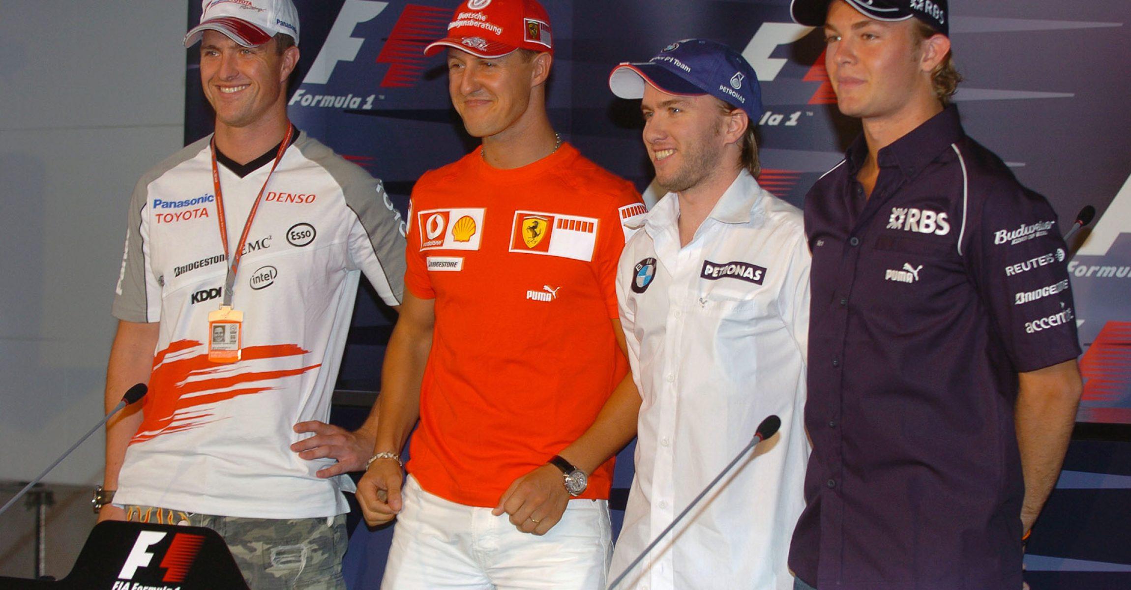Ralf Schumacher, Michael Schumacher,  Nick Heidfeld BMW Sauber F1 Team Driver 2006 and Nico Rosberg.attend the Thursday Press conference.