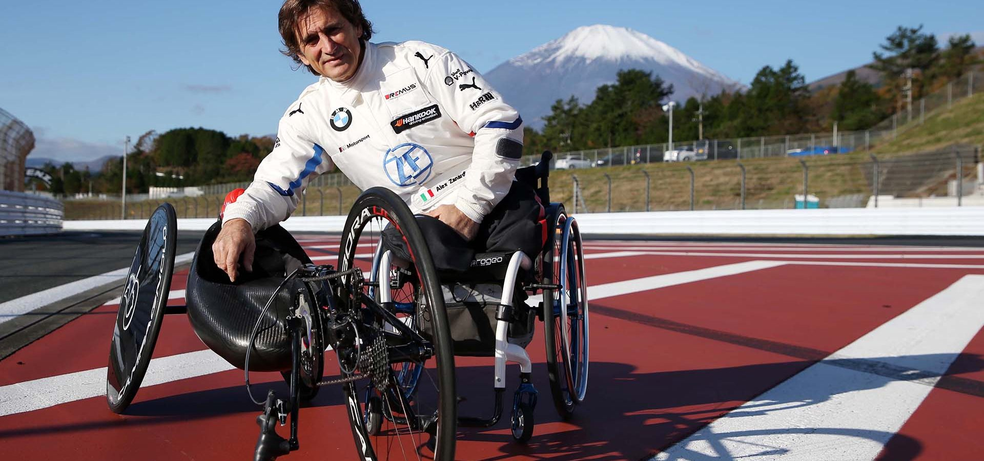 "Fuji International Speedway (JPN), 20th to 21st November 2019. BMW M Motorsport. ""SUPER GT x DTM Dream Race"". BMW works driver, BMW brand ambassador Alessandro Zanardi (ITA), practicing with his hand cycle."
