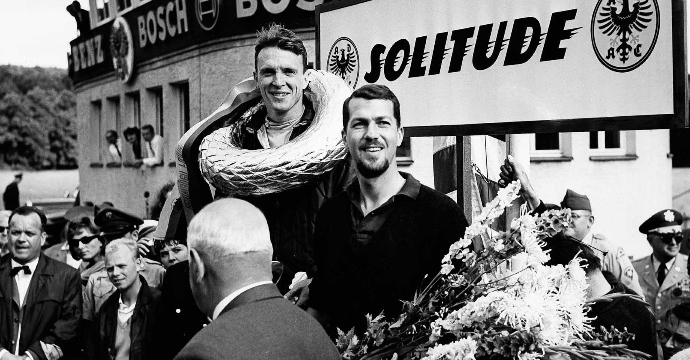 Dan Gurney celebrates first F1 win for Porsche