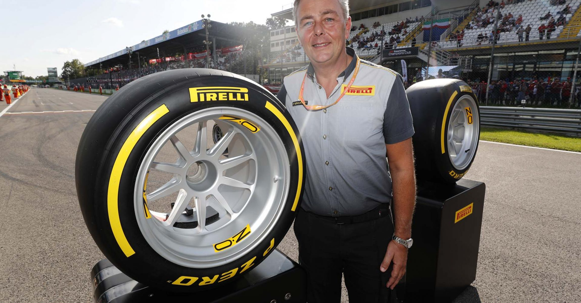 AUTODROMO NAZIONALE MONZA, ITALY - SEPTEMBER 07: Jean Alesi tests the new Pirelli 18 inch tyres for next seasons F2 Car during the Italian GP at Autodromo Nazionale Monza on September 07, 2019 in Autodromo Nazionale Monza, Italy. (Photo by Steven Tee / LAT Images)