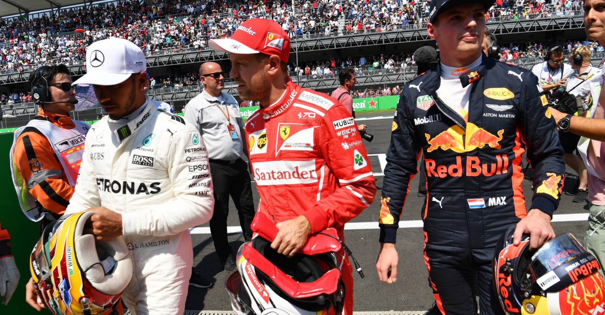 Lewis Hamilton (GBR) Mercedes AMG F1, pole sitter Sebastian Vettel (GER) Ferrari and Max Verstappen (NED) Red Bull Racing in parc ferme at Formula One World Championship, Rd18, Mexican Grand Prix, Qualifying, Circuit Hermanos Rodriguez, Mexico City, Mexico, Saturday 28 October 2017. Mexican GP 2017