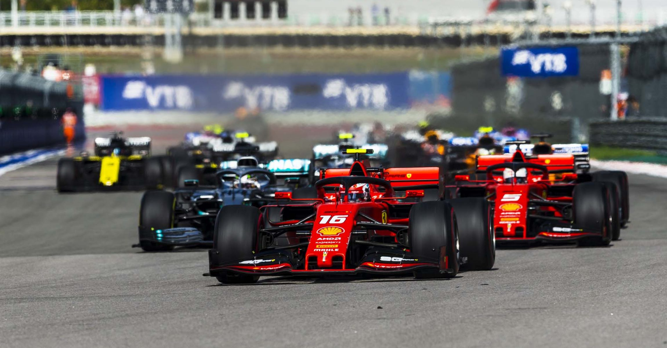 Russian Grand Prix start, Charles Leclerc, Sebastian Vettel Ferrari
