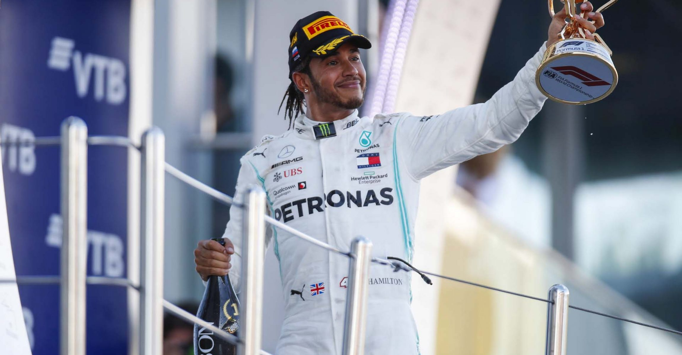 SOCHI AUTODROM, RUSSIAN FEDERATION - SEPTEMBER 29: Lewis Hamilton, Mercedes AMG F1, celebrates on the podium during the Russian GP at Sochi Autodrom on September 29, 2019 in Sochi Autodrom, Russian Federation. (Photo by Joe Portlock / LAT Images)
