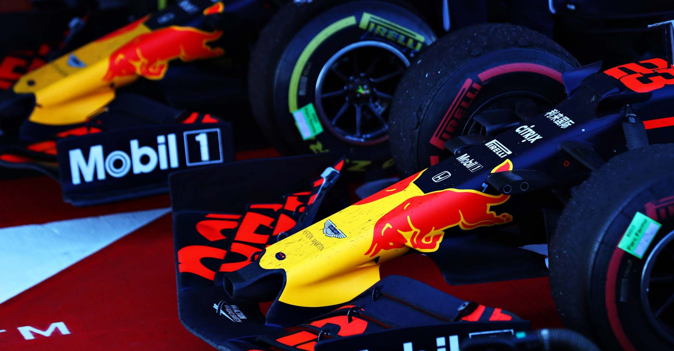 SOCHI, RUSSIA - SEPTEMBER 29: The cars of Max Verstappen of Netherlands and Red Bull Racing and Alexander Albon of Thailand and Red Bull Racing are seen in parc ferme during the F1 Grand Prix of Russia at Sochi Autodrom on September 29, 2019 in Sochi, Russia. (Photo by Mark Thompson/Getty Images) // Getty Images / Red Bull Content Pool // AP-21QJAHQNN1W11 // Usage for editorial use only //