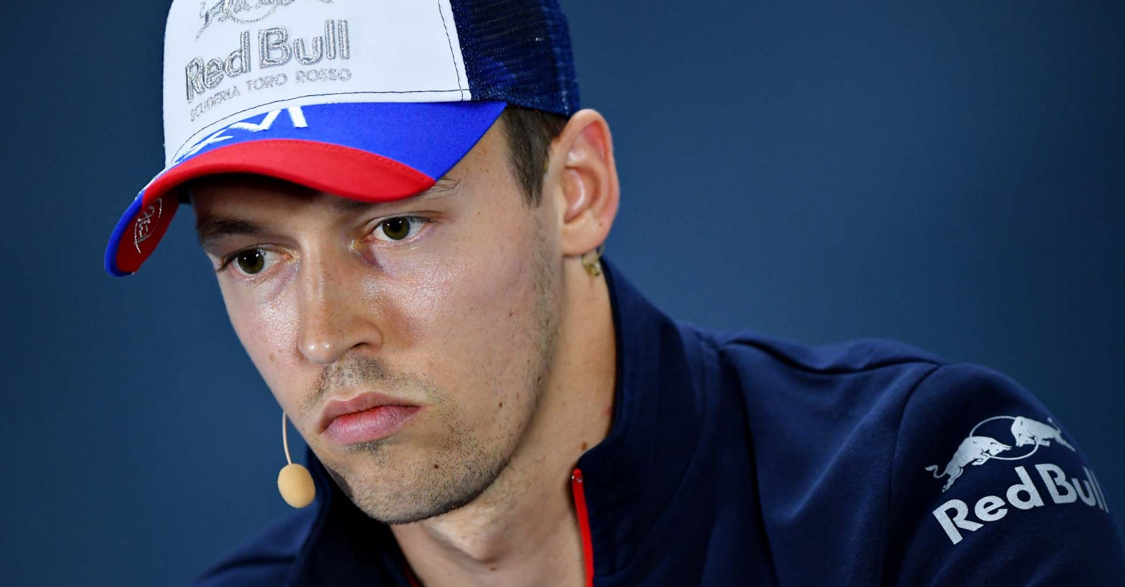 SOCHI, RUSSIA - SEPTEMBER 26: Daniil Kvyat of Russia and Scuderia Toro Rosso talks in the Drivers Press Conference during previews ahead of the F1 Grand Prix of Russia at Sochi Autodrom on September 26, 2019 in Sochi, Russia. (Photo by Clive Mason/Getty Images) // Getty Images / Red Bull Content Pool  // AP-21PK6EQK11W11 // Usage for editorial use only //