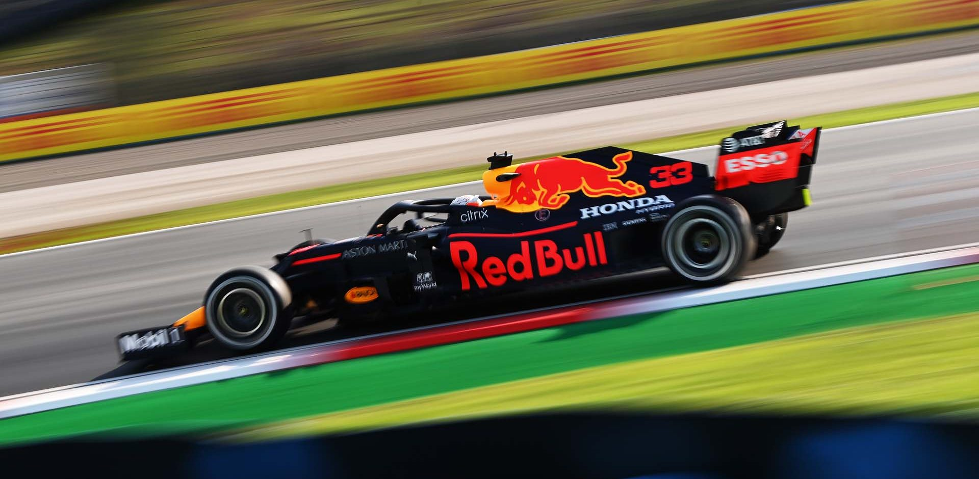 ISTANBUL, TURKEY - NOVEMBER 13: Max Verstappen of the Netherlands driving the (33) Aston Martin Red Bull Racing RB16 on track during practice ahead of the F1 Grand Prix of Turkey at Intercity Istanbul Park on November 13, 2020 in Istanbul, Turkey. (Photo by Ozan Kose-Pool/Getty Images)