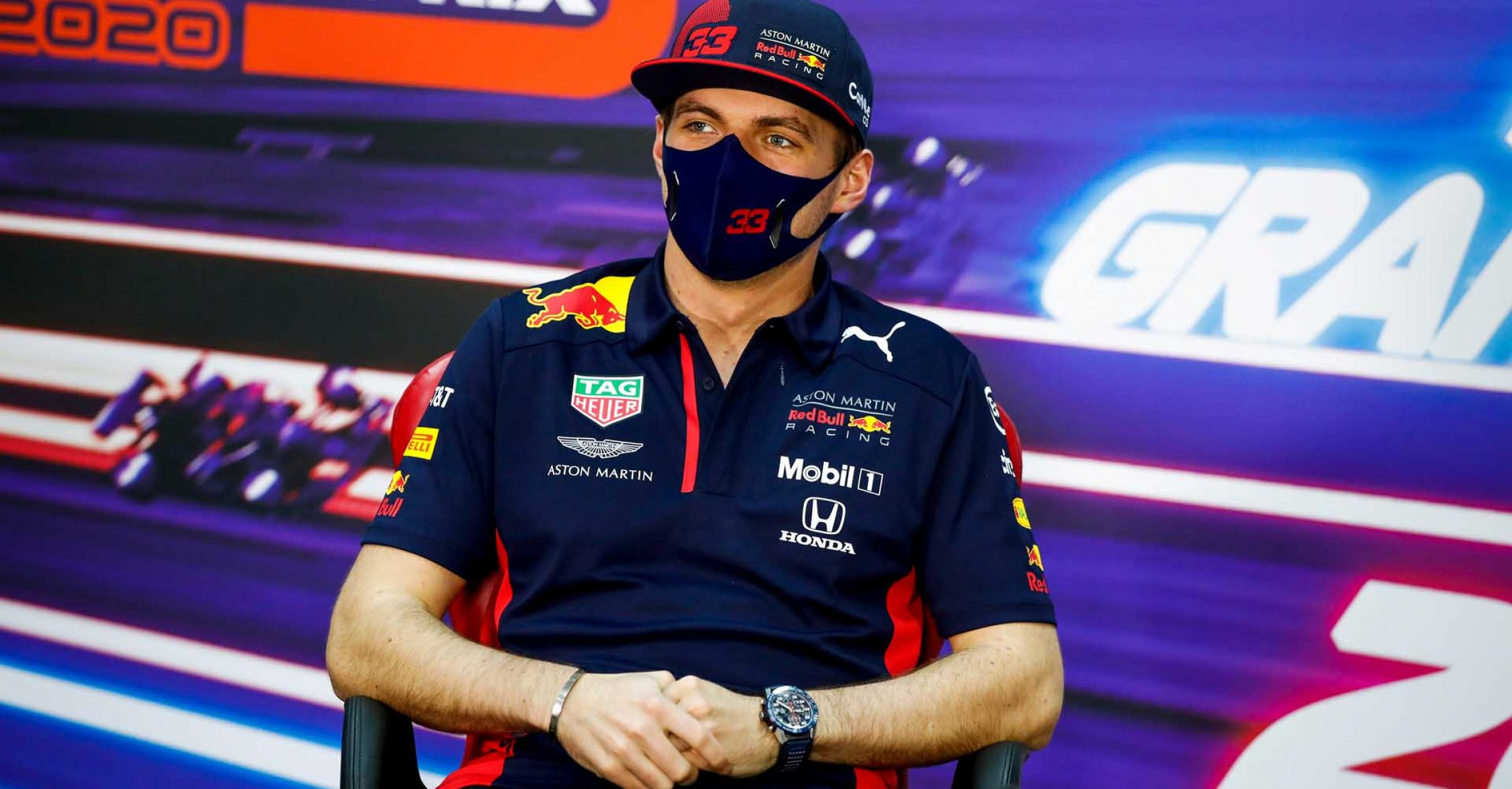 BAHRAIN, BAHRAIN - DECEMBER 03: Max Verstappen of Netherlands and Red Bull Racing talks in the Drivers Press Conference during previews ahead of the F1 Grand Prix of Sakhir at Bahrain International Circuit on December 03, 2020 in Bahrain, Bahrain. (Photo by Florent Gooden - Pool/Getty Images)