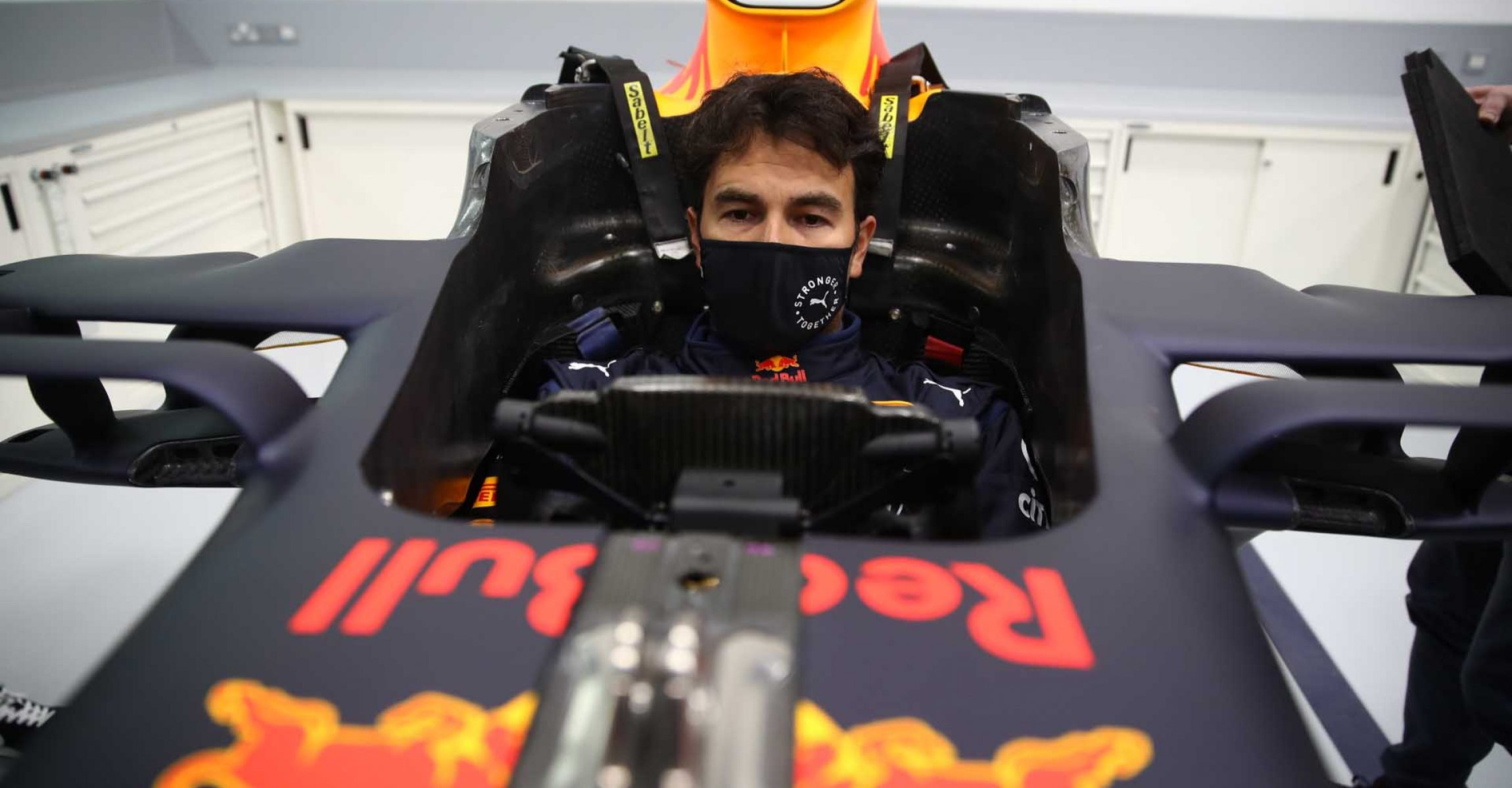 MILTON KEYNES, ENGLAND - JANUARY 12: Sergio Perez of Mexico and Red Bull Racing has a seat fitting at Red Bull Racing Factory on January 12, 2021 in Milton Keynes, England. (Photo by Mark Thompson/Getty Images)