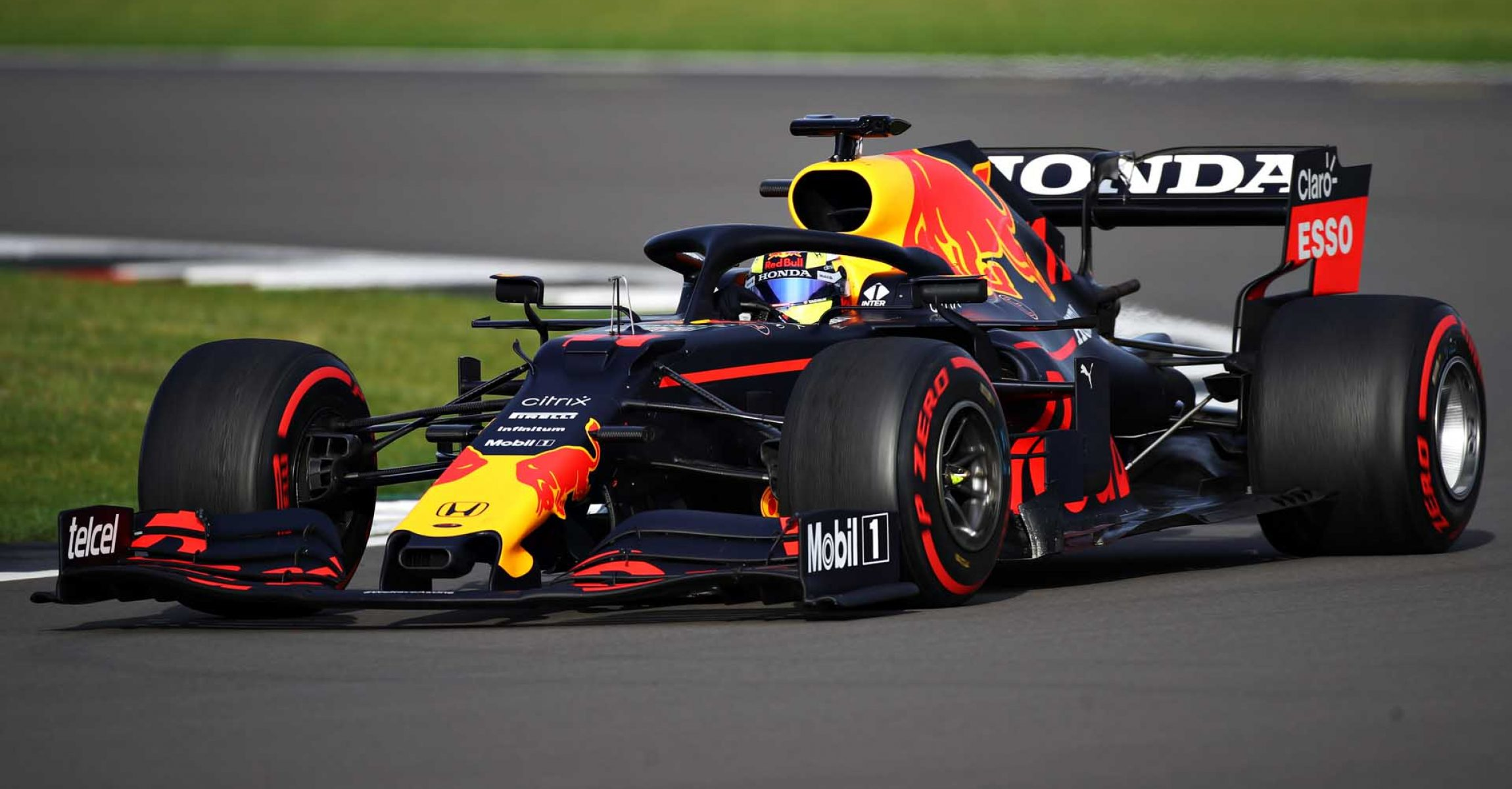 NORTHAMPTON, ENGLAND - FEBRUARY 23: Sergio Perez of Mexico driving the (11) Red Bull Racing RB15 Honda at Silverstone on February 23, 2021 in Northampton, England. (Photo by Bryn Lennon/Getty Images for Red Bull Racing)