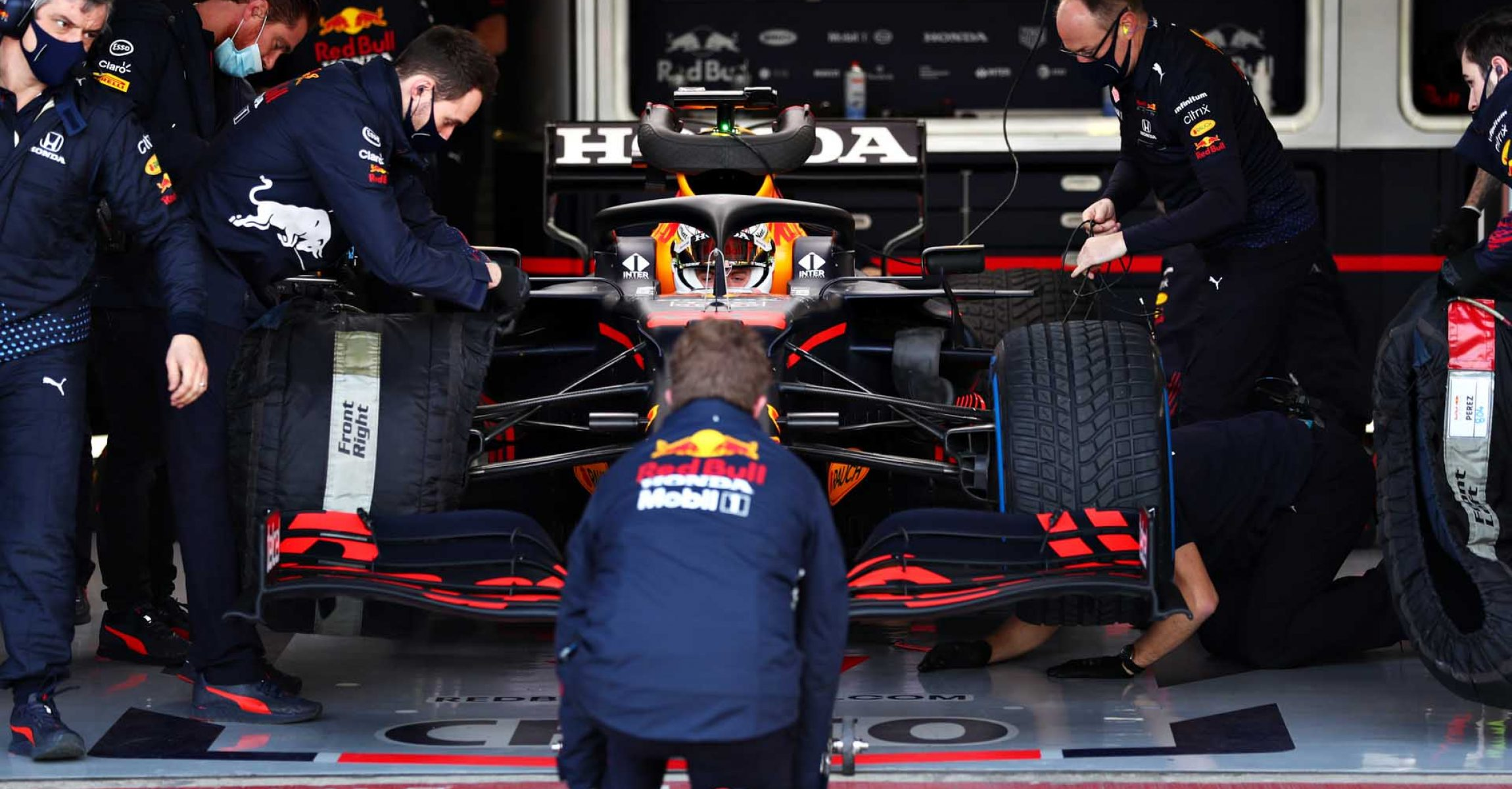 NORTHAMPTON, ENGLAND - FEBRUARY 24: Max Verstappen of Netherlands and Red Bull Racing prepares to drive in the garage during the Red Bull Racing Filming Day at Silverstone on February 24, 2021 in Northampton, England. (Photo by Dan Istitene/Getty Images for Red Bull Racing)