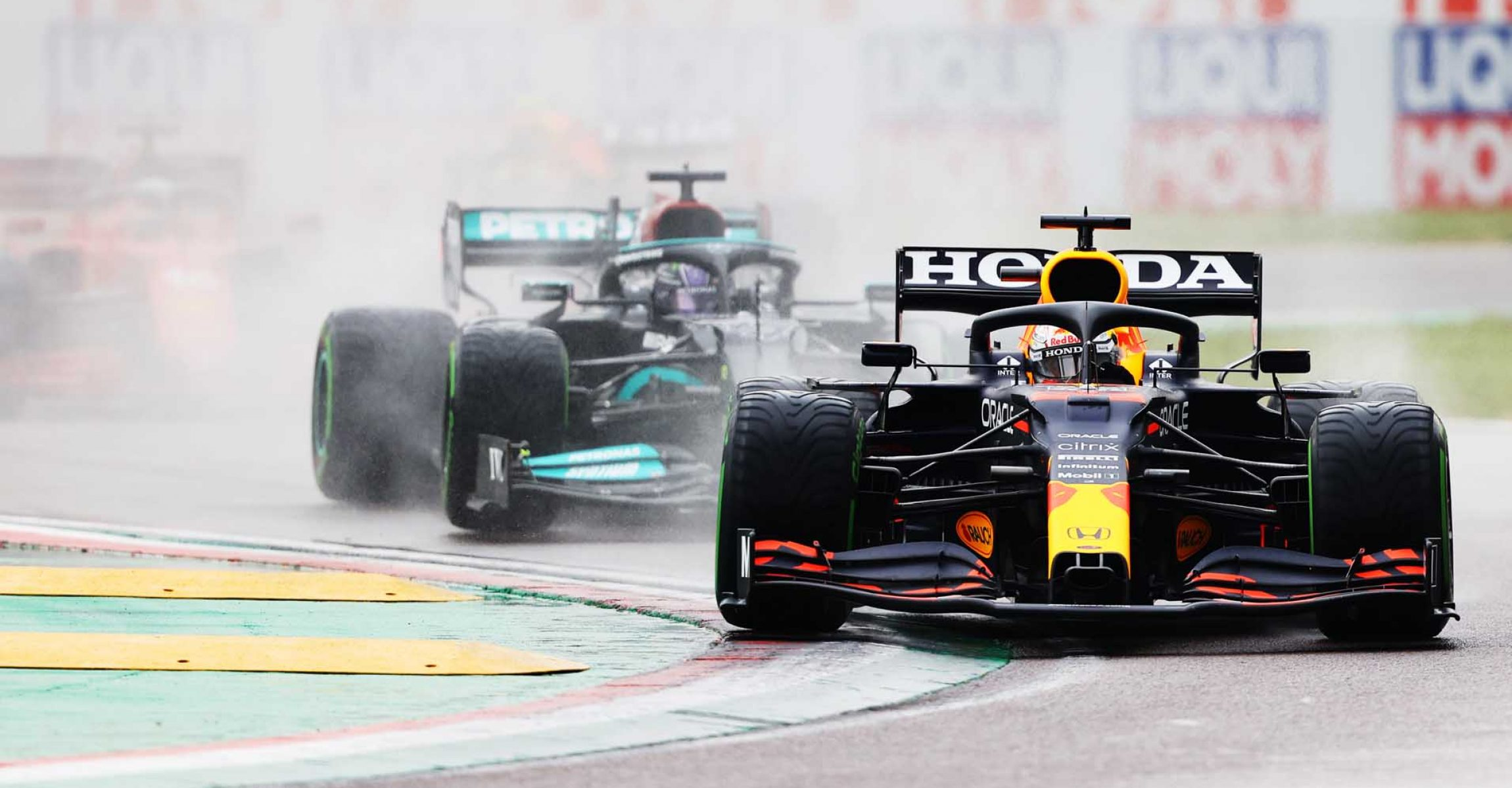 IMOLA, ITALY - APRIL 18: Max Verstappen of the Netherlands driving the (33) Red Bull Racing RB16B Honda on track during the F1 Grand Prix of Emilia Romagna at Autodromo Enzo e Dino Ferrari on April 18, 2021 in Imola, Italy. (Photo by Bryn Lennon/Getty Images)