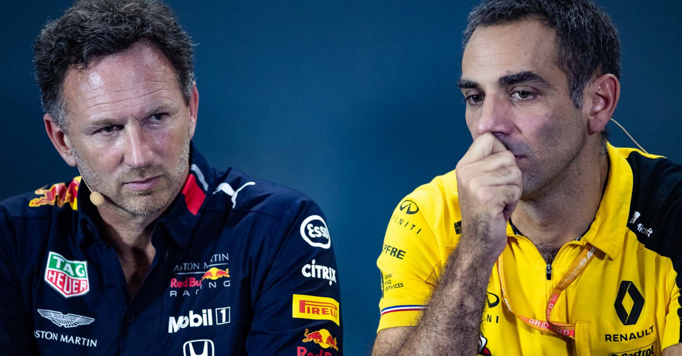 SINGAPORE, SINGAPORE - SEPTEMBER 20: Red Bull Racing Team Principal Christian Horner (L) and Renault Sport F1 Managing Director Cyril Abiteboul (R) look on in the Team Principals Press Conference during practice for the F1 Grand Prix of Singapore at Marina Bay Street Circuit on September 20, 2019 in Singapore. (Photo by Lars Baron/Getty Images) // Getty Images / Red Bull Content Pool  // AP-21MMK9BXS2111 // Usage for editorial use only //