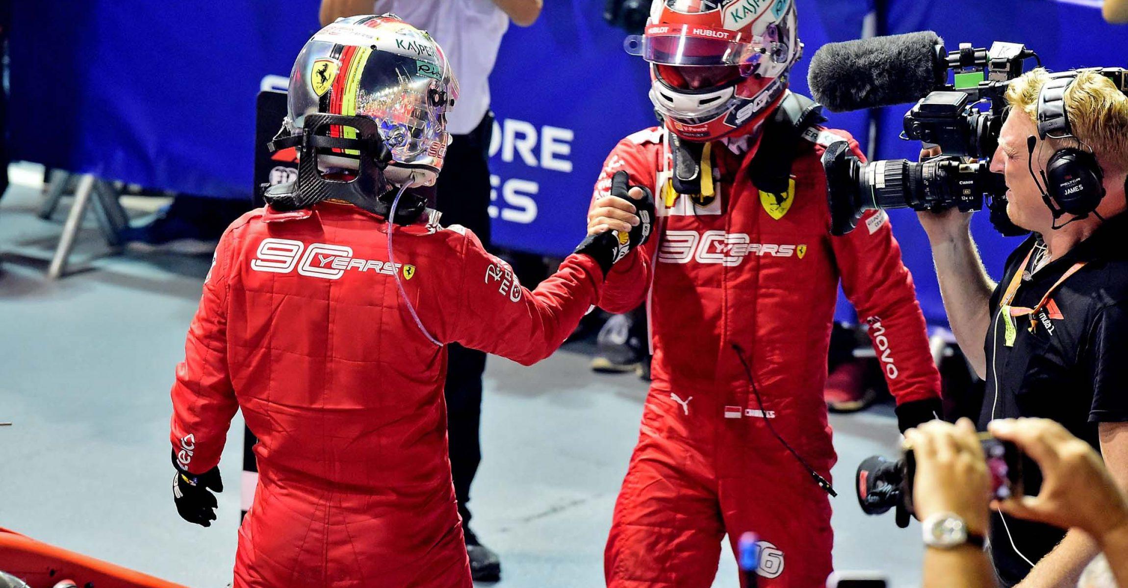 GP SINGAPORE F1/2019 -  DOMENICA 22/09/2019   credit: @Scuderia Ferrari Press Office Sebastian Vettel Charles Leclerc