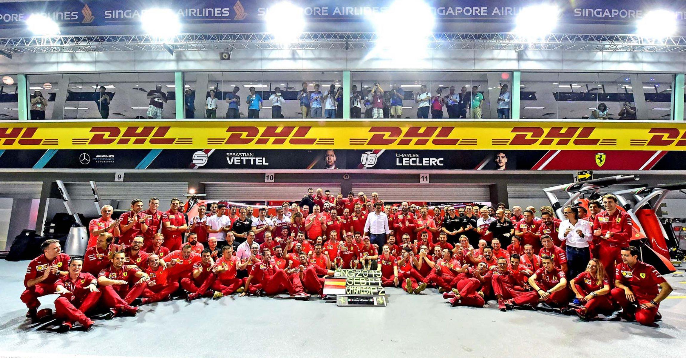 GP SINGAPORE F1/2019 -  DOMENICA 22/09/2019   credit: @Scuderia Ferrari Press Office Ferrari team photo after Singapore, Sebastian Vettel, Charles Leclerc, Mattia Binotto