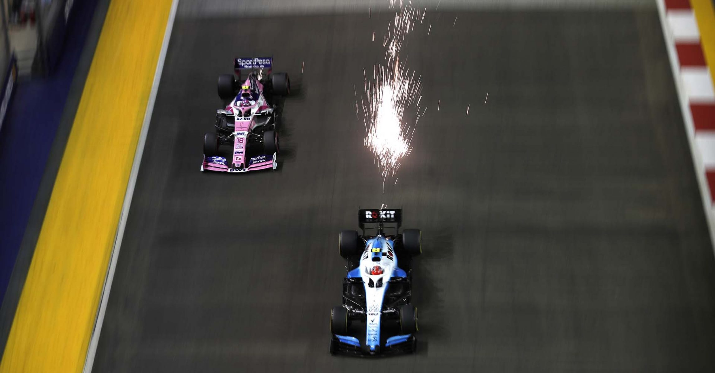 Robert Kubica, Williams FW42 and Lance Stroll, Racing Point RP19