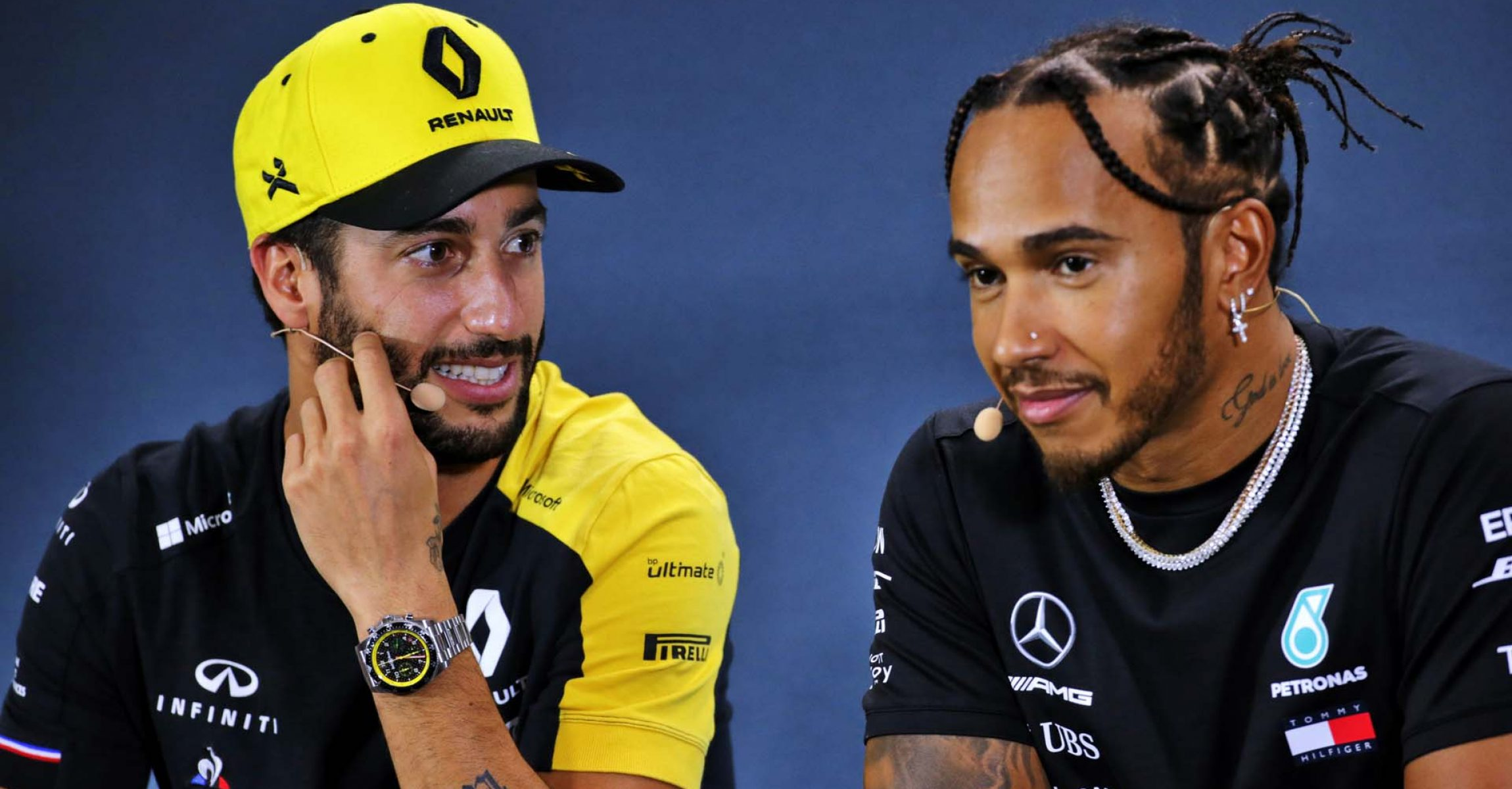(L to R): Daniel Ricciardo (AUS) Renault F1 Team and Lewis Hamilton (GBR) Mercedes AMG F1 in the FIA Press Conference. Singapore Grand Prix, Thursday 19th September 2019. Marina Bay Street Circuit, Singapore.