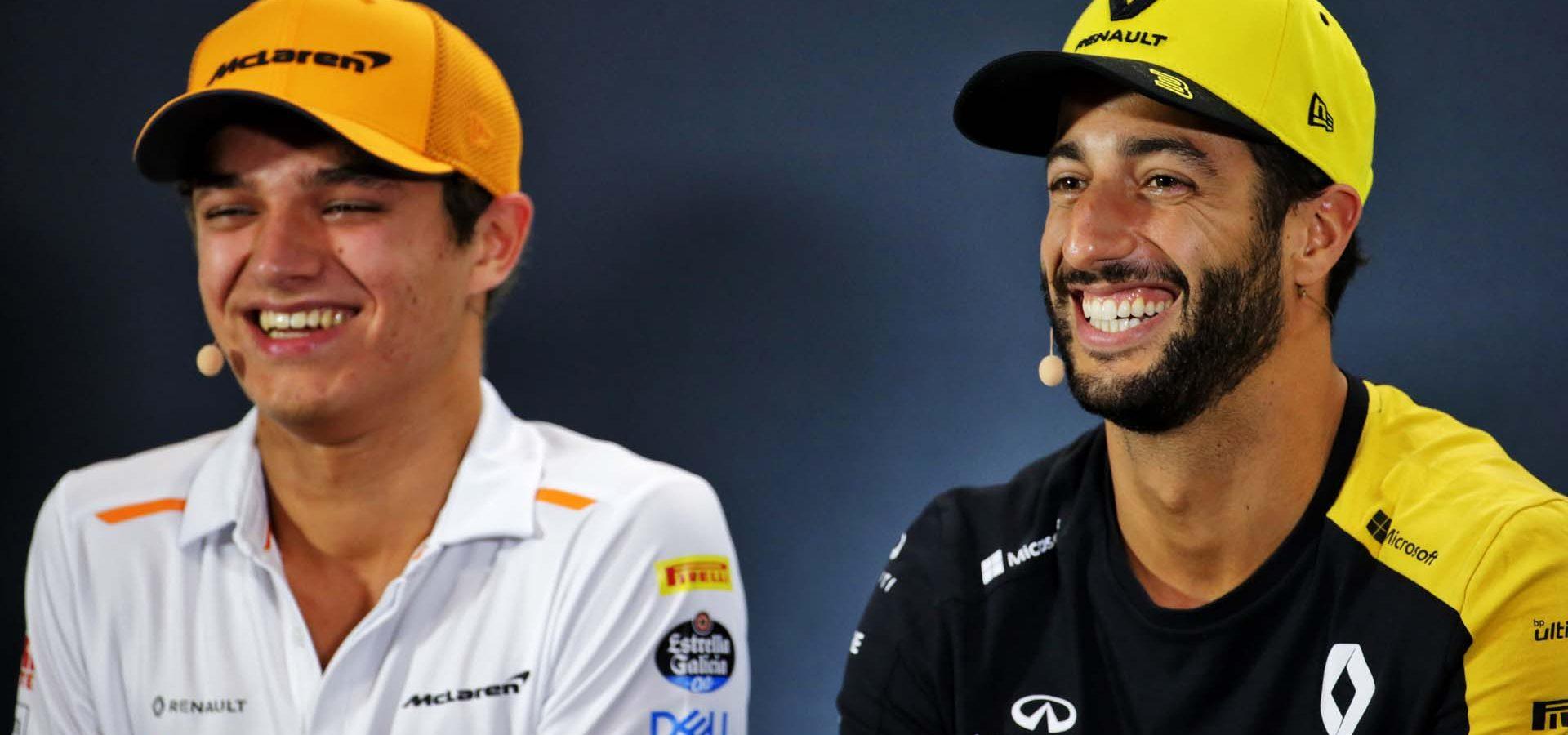 (L to R): Lando Norris (GBR) McLaren and Daniel Ricciardo (AUS) Renault F1 Team in the FIA Press Conference. Singapore Grand Prix, Thursday 19th September 2019. Marina Bay Street Circuit, Singapore.