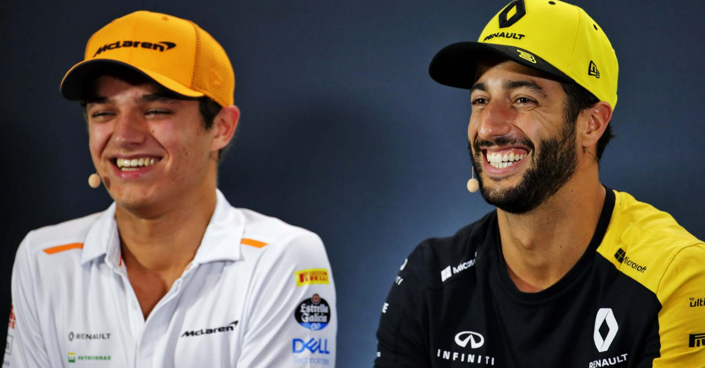 (L to R): Lando Norris (GBR) McLaren and Daniel Ricciardo (AUS) Renault F1 Team in the FIA Press Conference. Singapore Grand Prix, Thursday 19th September 2019. Marina Bay Street Circuit, Singapore.